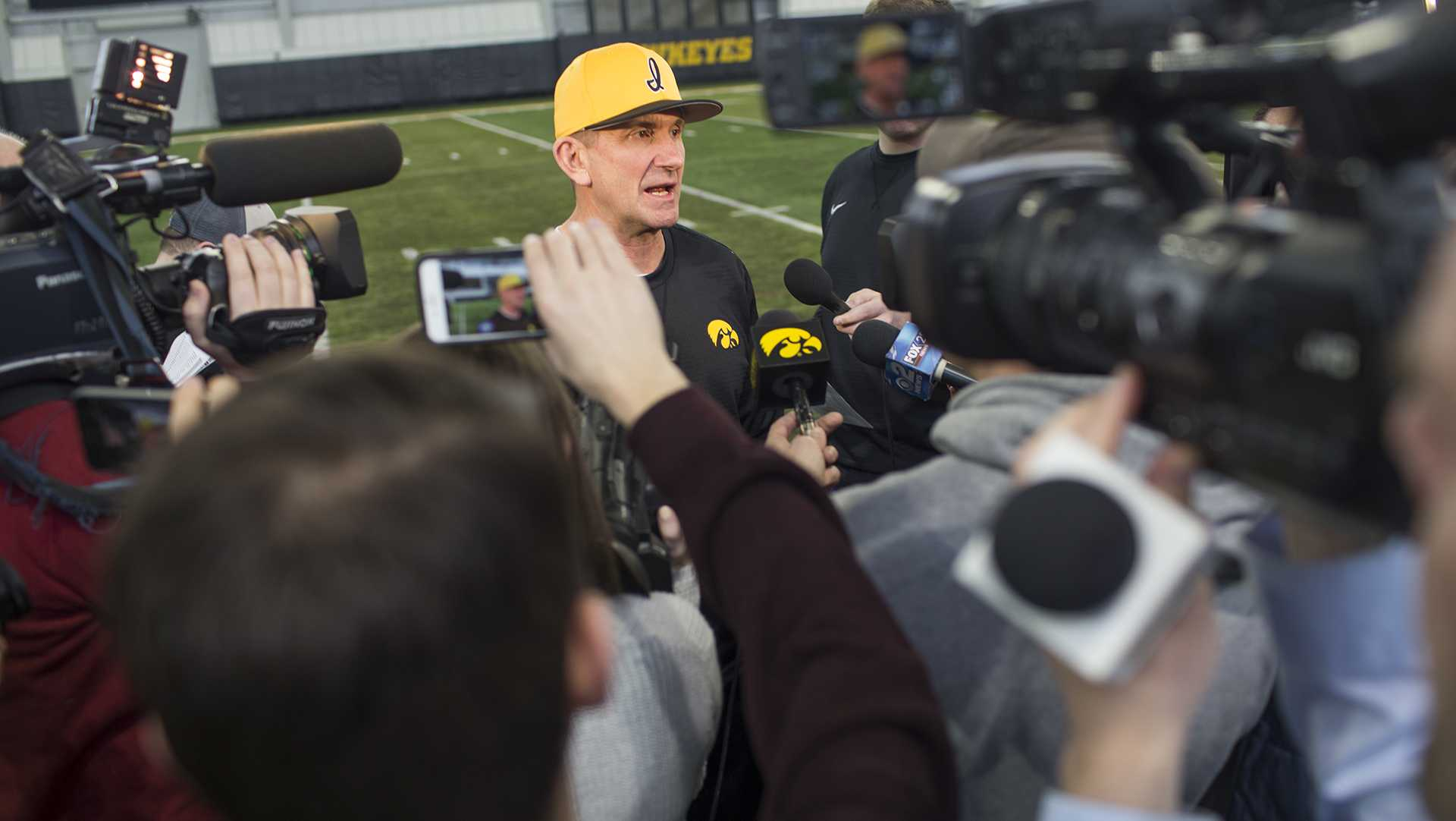 Iowa head coach Rick Heller speaks to the media during baseball media day at the Hansen Football Performance Center on Thursday, Feb. 8, 2018. The Hawkeyes begin their season Feb. 16 against Toledo in the Diamond 9 Sunshine State Classic Series in Kissimmee, Fl. (Lily Smith/The Daily Iowan)