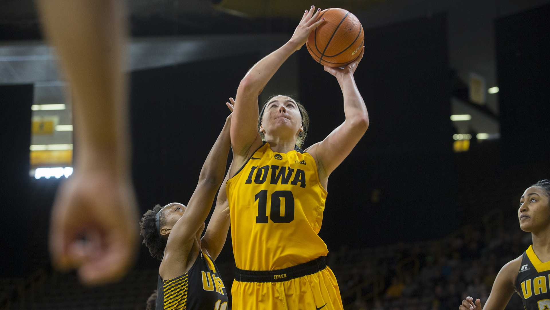 Iowa forward Megan Gustafson attempts a shot during the Iowa/Arkansas-Pine Bluff basketball game in Carver-Hawkeye Arena on Saturday, Dec. 9, 2017. The Hawkeyes defeated the Golden Lions, 85-45. (Lily Smith/The Daily Iowan)