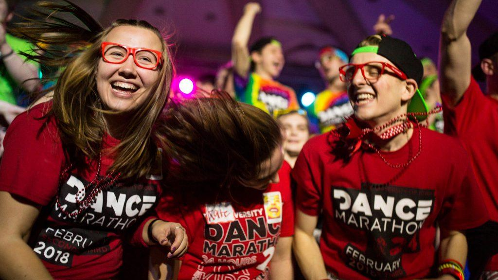 Dance+marathon+participants+dance+on+stage+during+the+ninth+hour+of+the+University+of+Iowa+24th+Annual+Dance+Marathon%2C+on+Saturday%2C+Feb.+3%2C+2018.+%28David+Harmantas%2FThe+Daily+Iowan%29