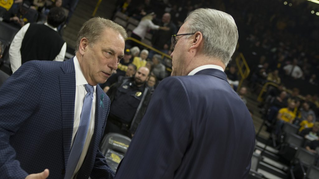 Iowa+head+coach+Fran+McCaffery+%28right%29+and+Michigan+State+head+coach+Tom+Izzo+meet+before+a+basketball+game+between+Iowa+and+Michigan+State+at+Carver-Hawkeye+Arena+on+Tuesday%2C+Feb.+6%2C+2018.+The+Hawkeyes+were+defeated+by+the+visiting+Spartans%2C+96-93.+%28Shivansh+Ahuja%2FThe+Daily+Iowan%29