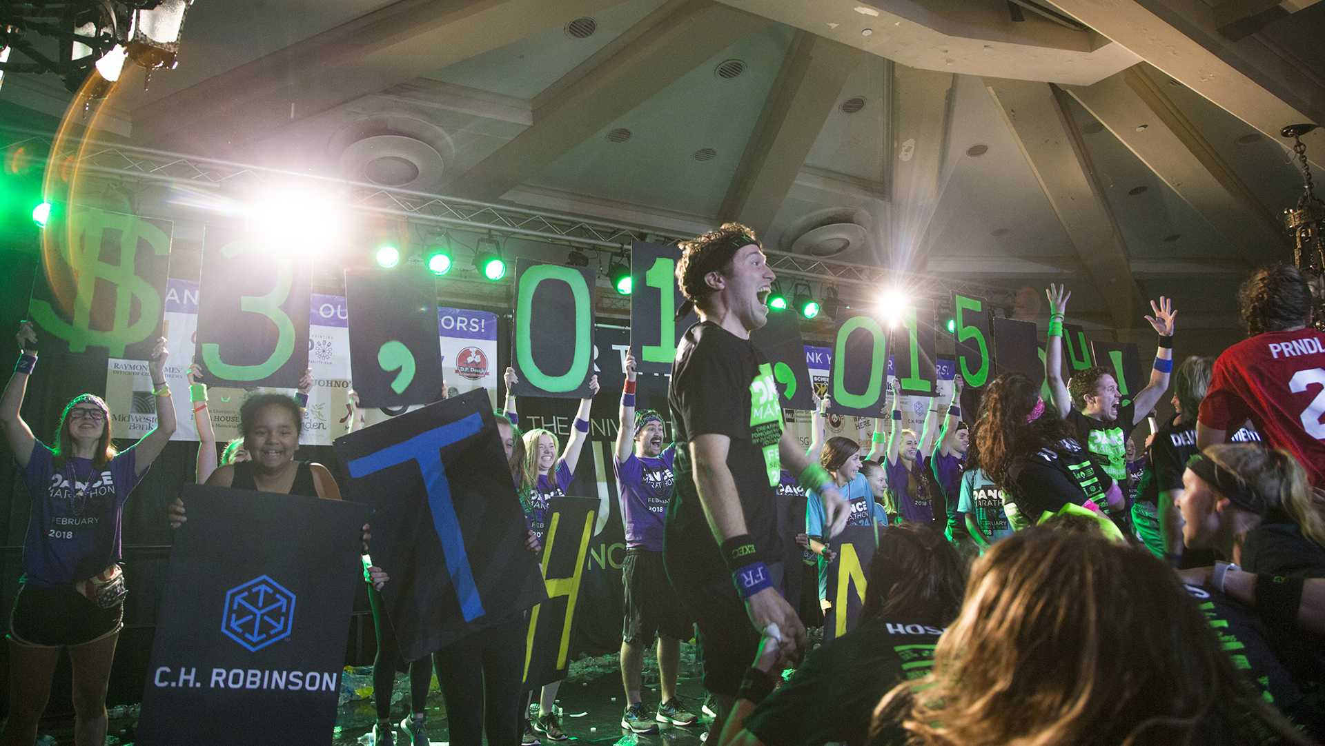 The Big Reveal shows a UI-record breaking amount for Dance Marathon 24 in the IMU on Saturday, Feb. 3, 2018. (Lily Smith/The Daily Iowan)