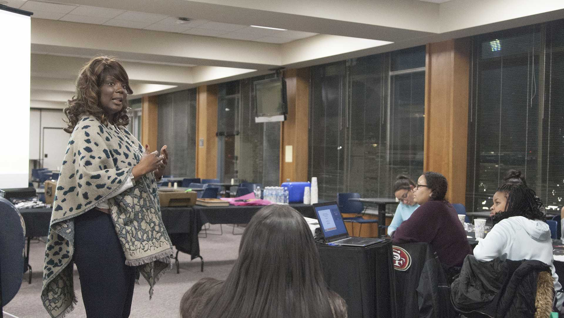 UI VP of Student Life Melissa Shivers during Being a Boss with VP for Student Life Melissa Shivers in the  IMU on Wednesday, Feb. 7, 2018.  The event was presented by the Womxn of Colour Network. (Ashol Aguek/ The Daily Iowan)