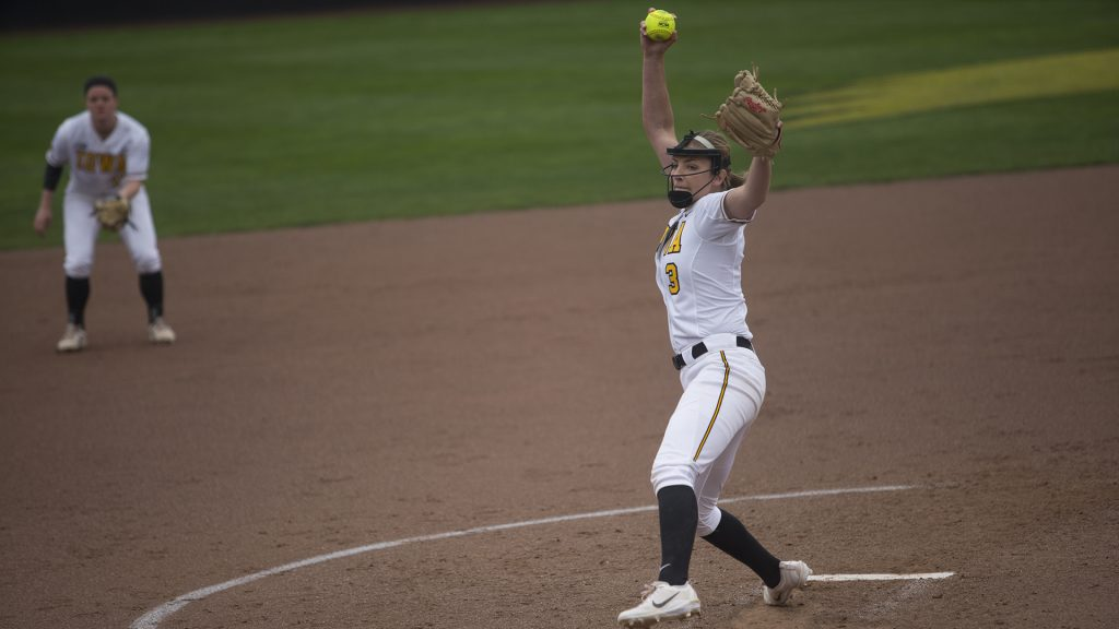 Iowa+pitcher+Allison+Doocy+throws+a+pitch+during+the+first+game+of+a+double+header+against+Nebraska+at+Bob+Pearl+on+Wednesday%2C+April+12%2C+2017.+%28File+Photo%2FThe+Daily+Iowan%29