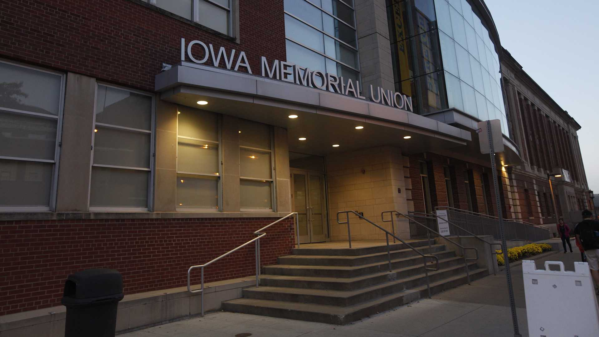 The Iowa Memorial Union glows in the evening Monday, Oct. 9th 2017.