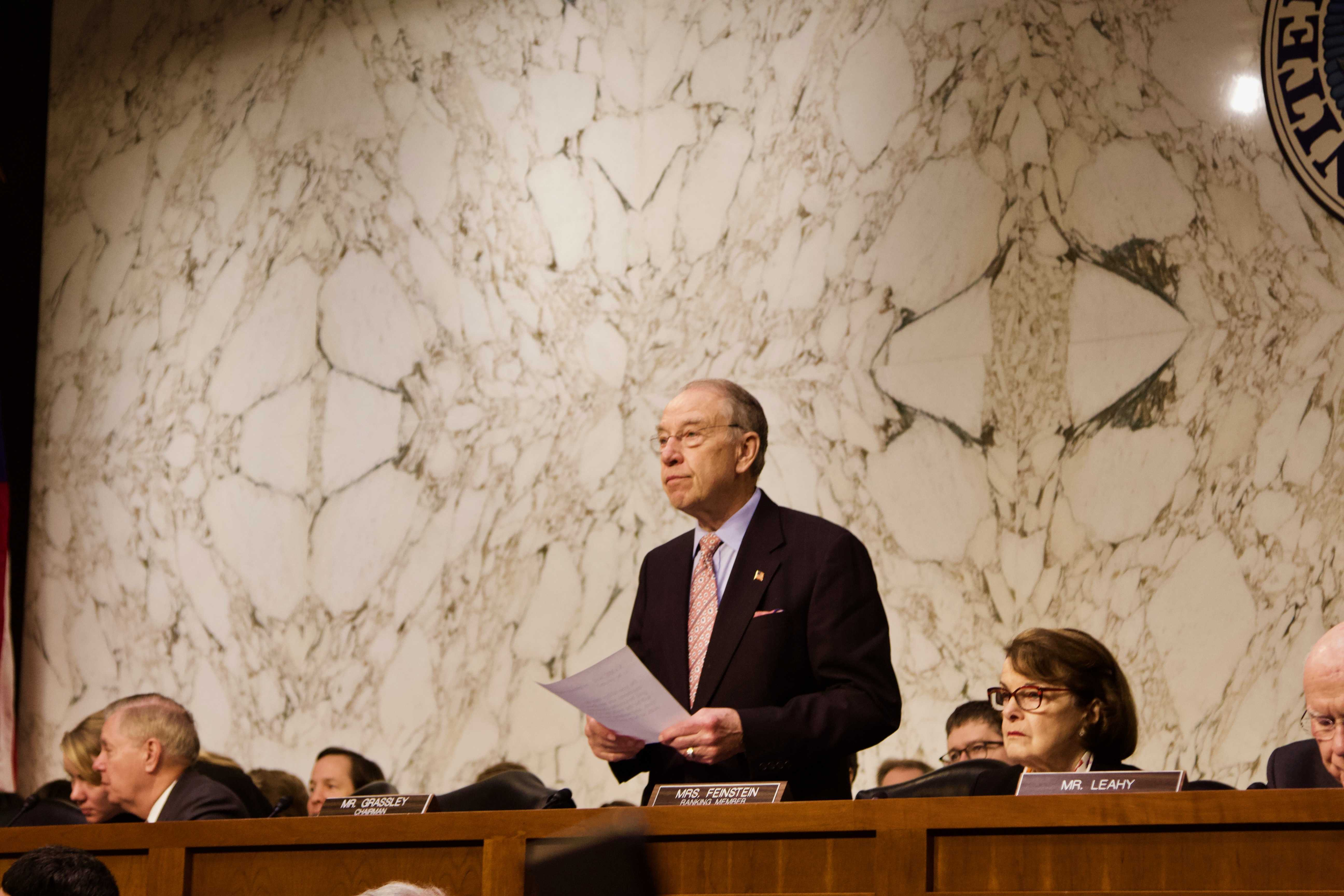Senate Judiciary Committee Chairman Chuck Grassley stands at a hearing March 14 addressing oversight in the Parkland, Florida, school shootings, in which 17 people died. (Katelyn Weisbrod/The Daily Iowan)