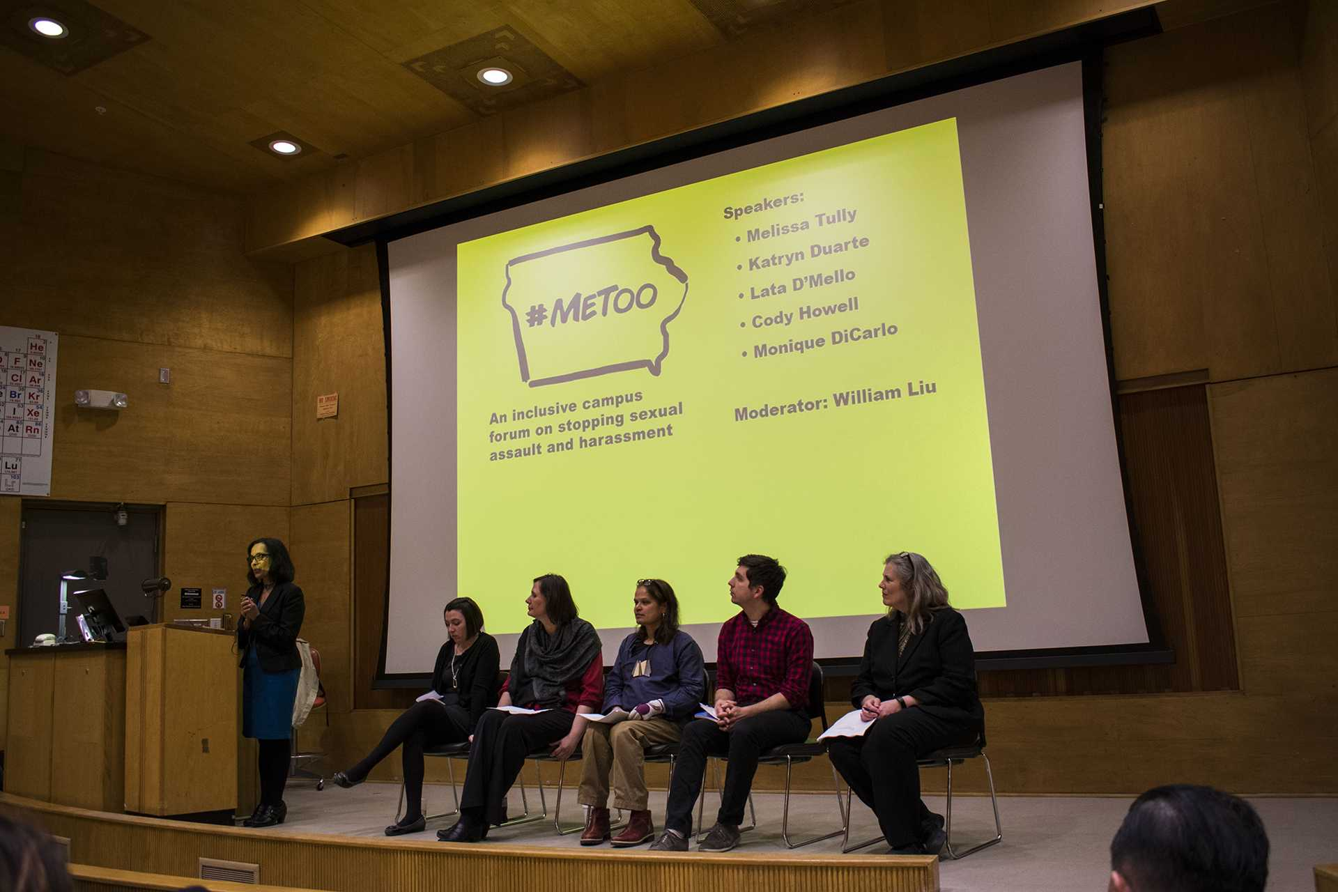 Five knowledgable speakers in the Iowa City area sat down at the Me Too Iowa forum in Shambaugh Auditorium on Thursday, Mar. 1, 2018. Audience members listened and discussed ways to alleviate the threats of sexual assault and harassment. (Sid Peterson/The Daily Iowan)