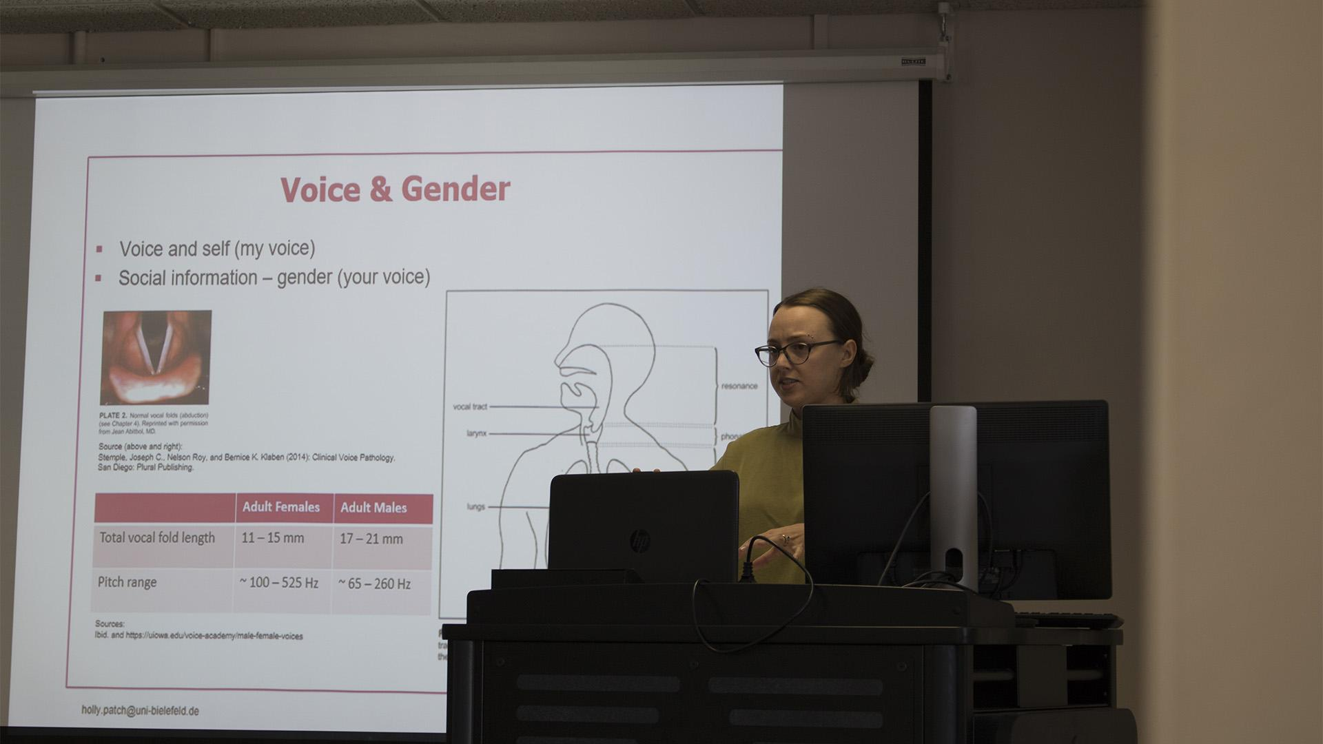 Holly Patch speaks at the Trans Vocality: singing, Gender,and Joyful Politics event at the Jefferson Building on Wednesday, March 7, 2018. The event explored western musical in terms of trans and gender non-conforming representation. (Yue Zhang/Daily Iowan)