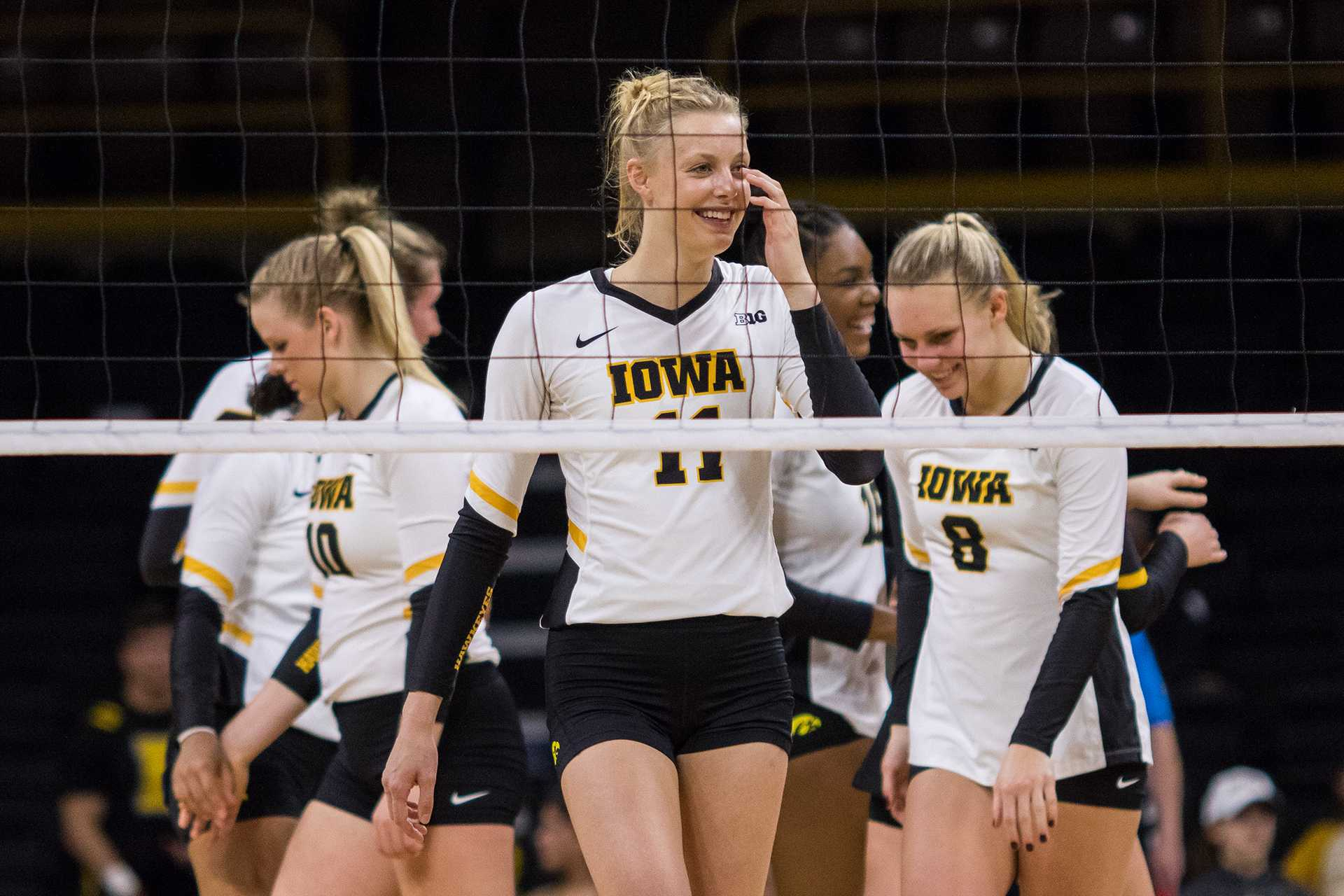 Iowa Hawkeye Volleyball player Kelsey O'Neill laughs during a match against the University of Illinois Fighting Illini on Friday, Oct. 19, 2017. The Illini defeated the Hawkeyes three sets to two. (David Harmantas/The Daily Iowan)