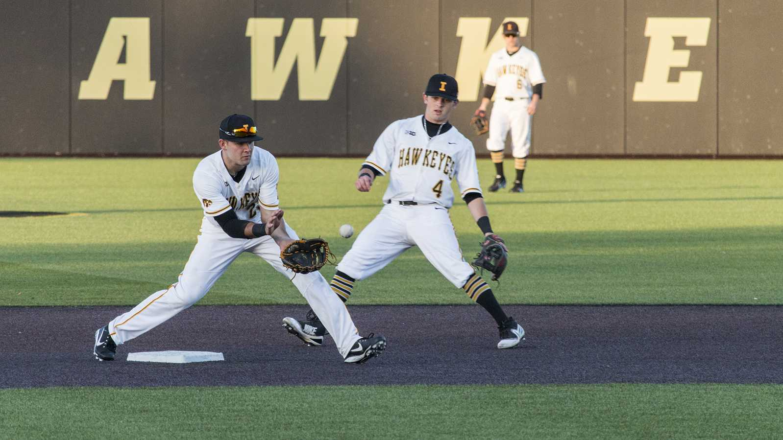 Iowa infielder Kyle Crowl catches the ball during men's baseball Iowa vs. Cornell at Duane Banks Field on Feb. 27, 2018. The Hawkeyes defeated Cornell 15-1. (Katina Zentz/The Daily Iowan)
