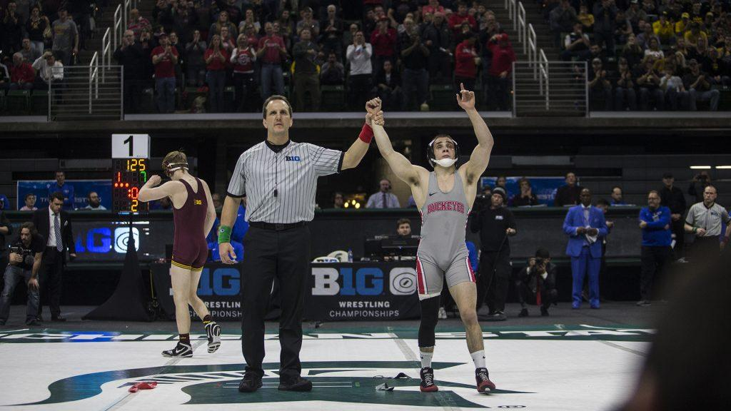 Ohio+State%27s+Nathan+Tomasello+beats+Minnesota%27s+Ethan+Lizak+in+the+125-pound+finals+of+the+Big+Ten+Wrestling+Championships+Day+2+at+the+Breslin+Student+Events+Center+in+East+Lansing%2C+MI+on+Saturday%2C+Mar.+4%2C+2018.+Tomasello+defeated+Lizak+by+decision%2C+10-7%2C+taking+home+first+place+in+the+tournament.+Tomasello+is+the+15th+four+time+champion+for+Big+Ten+wrestling.+%28Ben+Allan+Smith%2FThe+Daily+Iowan%29