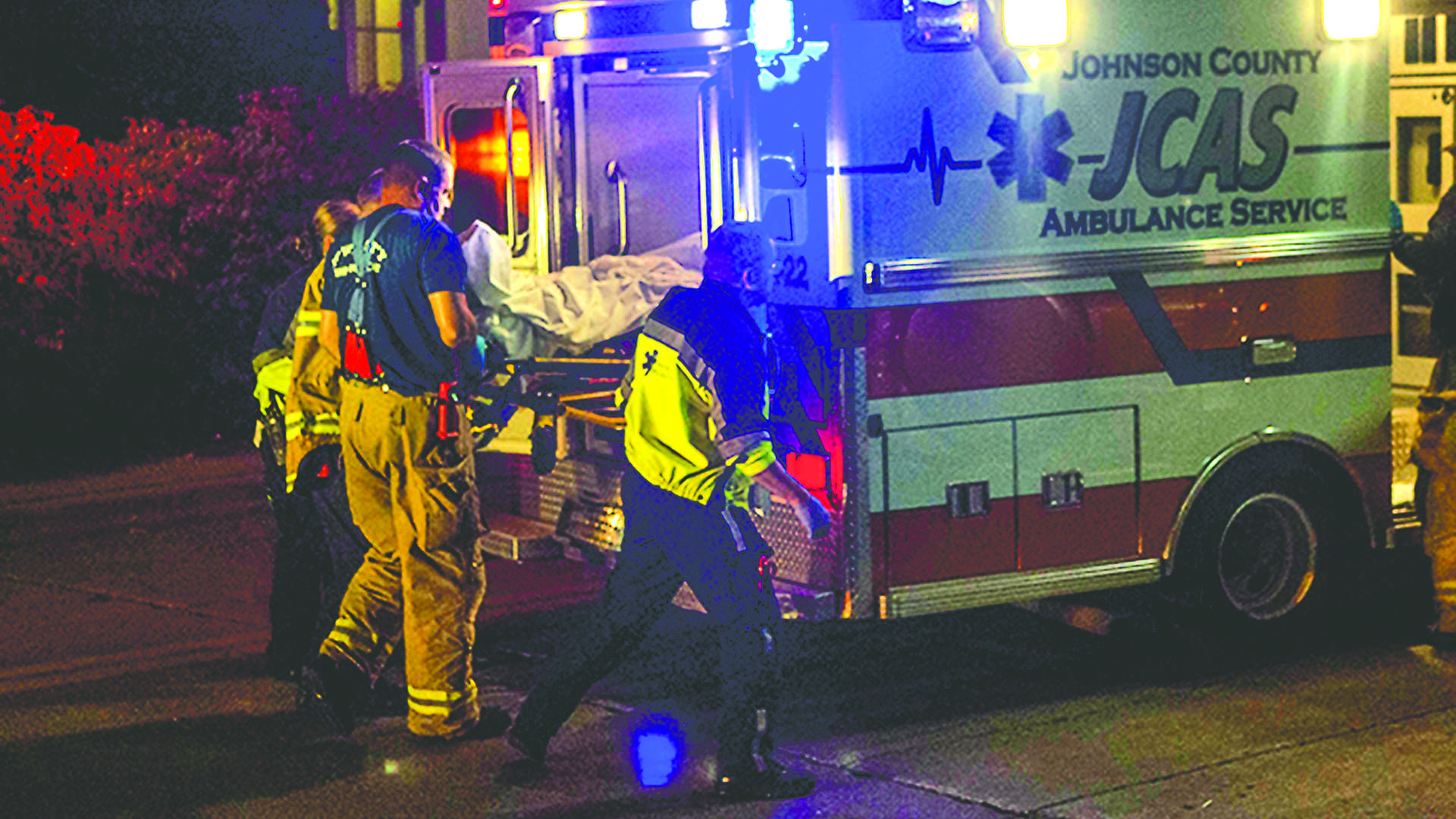 An ambulance takes away a intoxicated drinker at east Washington St. on Friday, Oct. 9, 2015. (File Photo/The Daily Iowan)