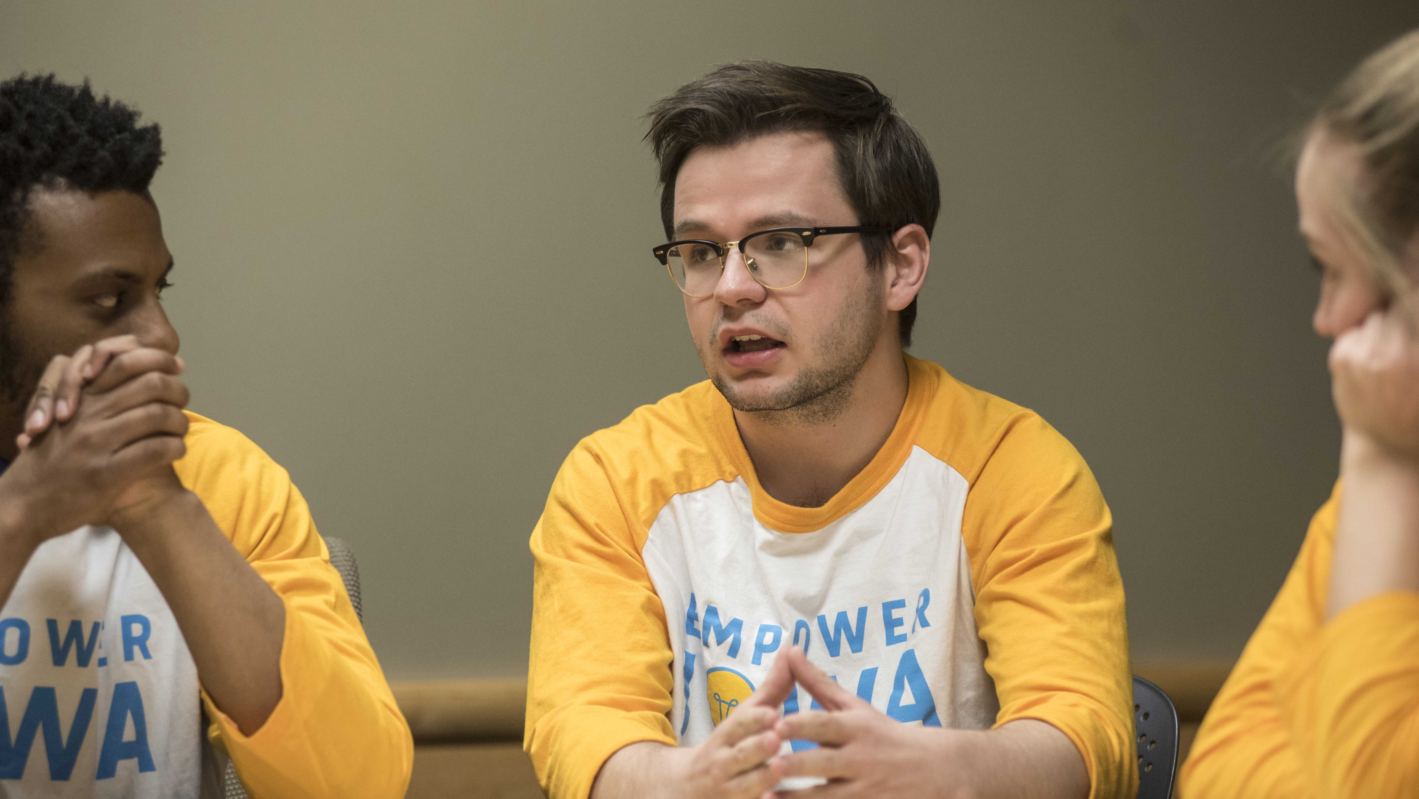 From left: Nate Robinson, Ben Nelson, and Katherine Baer, members of the UISG ticket Empower Iowa speak to the Daily Iowa editorial staff in the Adler Journalism Building on Monday, March 19, 2018. Empower Iowa is one of four groups on the ticket for the 2018-19 year UISG elections. (Ben Allan Smith/The Daily Iowan)