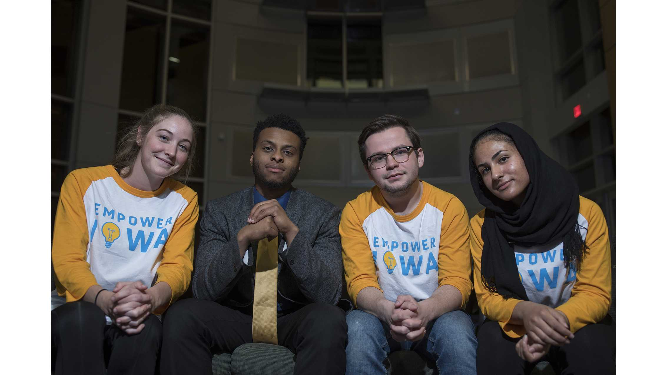 From left: Katherine Baer, Nate Robinson, Ben Nelson, and Zahra Aalabdulrasul, members of the UISG ticket Empower Iowa pose for portraits in the Adler Journalism Building on Monday, March 19, 2018. Empower Iowa is one of four groups on the ticket for the 2018-19 year UISG elections. (Ben Allan Smith/The Daily Iowan)