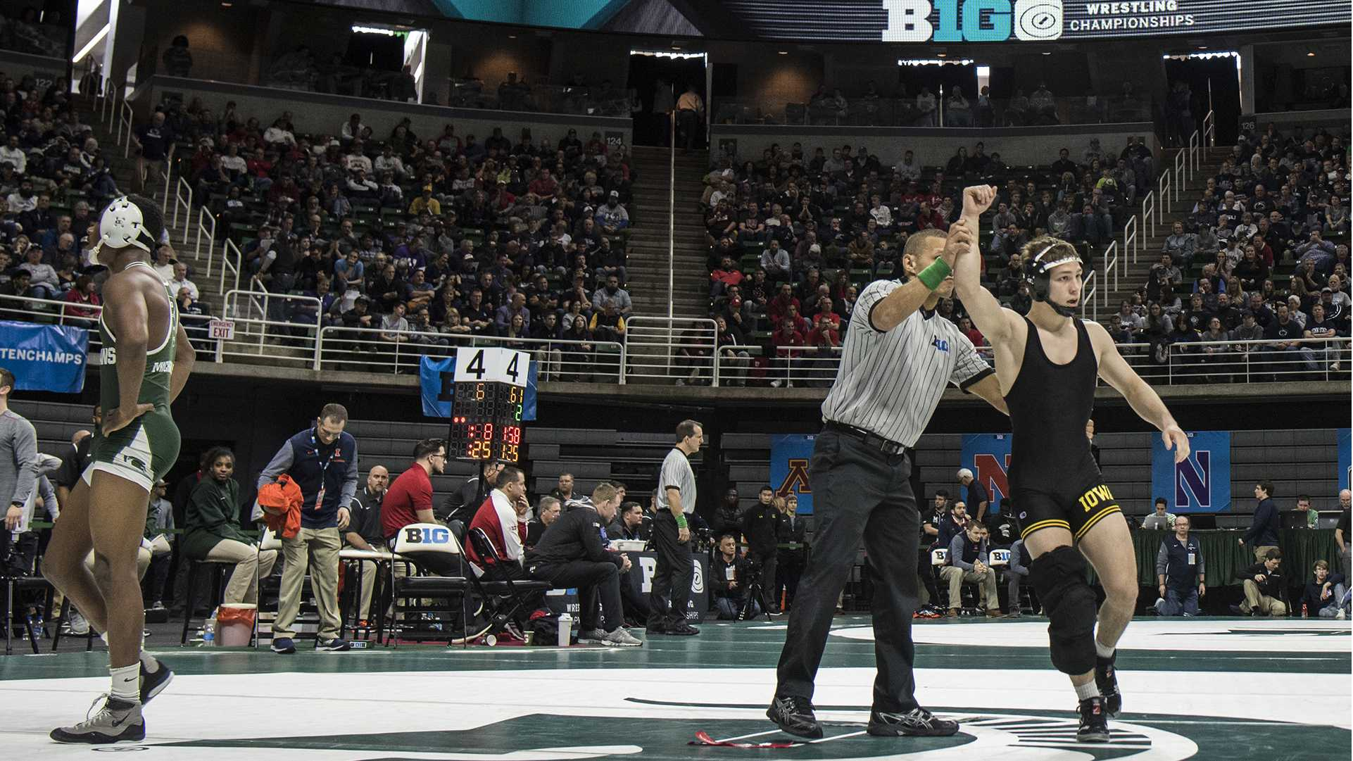 Iowa's 125-pound Spencer Lee beats Michigan State's RayVon Foley in the first round of Session 1 of the Big Ten Wrestling Championships Day 1 at the Breslin Student Events Center in East Lansing, MI on Saturday, Mar. 3, 2018. (Ben Allan Smith/The Daily Iowan)