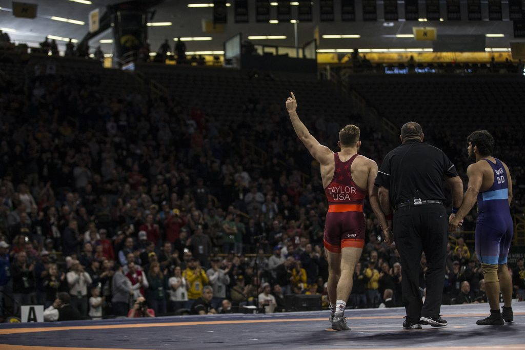 David+Taylor+%28red%29+of+America+defeats+India%27s+Pawan+Kumar+%28blue%29+in+an+86+kg+bout+during+the+2018+Men%27s+Freestyle+World+Cup+at+Carver-Hawkeye+Arena+on+Saturday%2C+April+7.+Team+USA+defeated+India+in+the+first+round+1039-3.+%28Ben+Allan+Smith%2FThe+Daily+Iowan%29