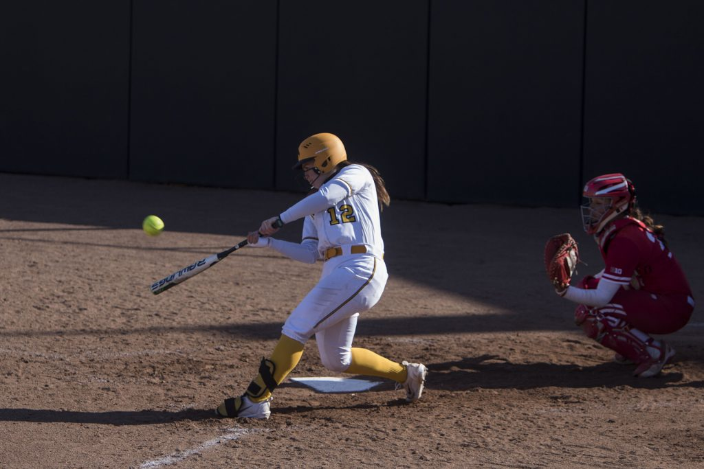 Iowa+catcher+Angela+Schmiederer+bats+during+the+Iowa%2FWisconsin+softball+game+at+Bob+Pearl+Field++on+Saturday%2C+April+7%2C+2018.+The+Hawkeyes+defeated+the+Badgers+in+the+second+game+of+the+series%2C+4-3.+%28Lily+Smith%2FThe+Daily+Iowan%29