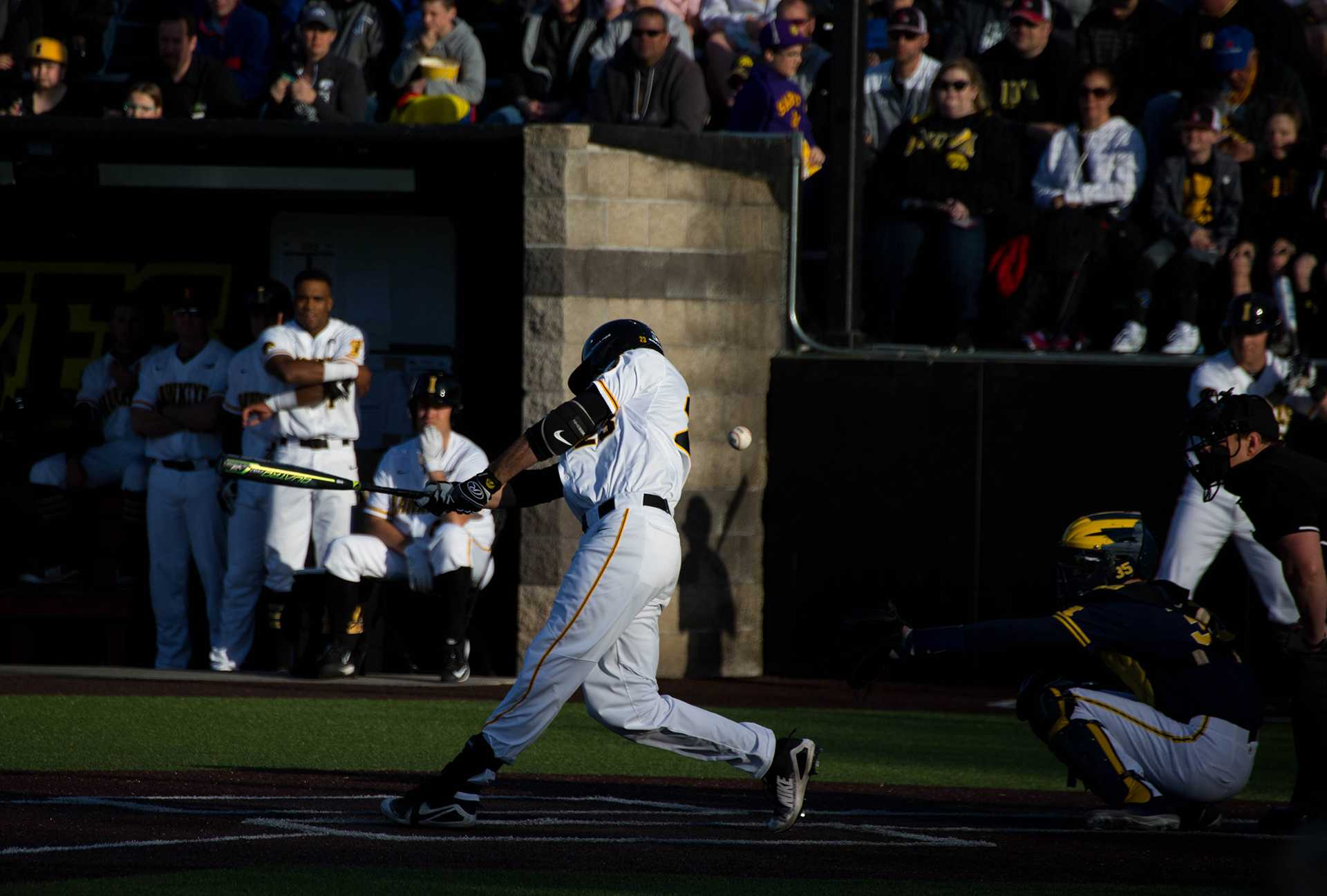Chris Whelan bats during Iowa's game against Michigan at Banks Field  on April 27, 2018. The Hawkeyes won the game 4-2. (Megan Nagorzanski/The Daily Iowan)