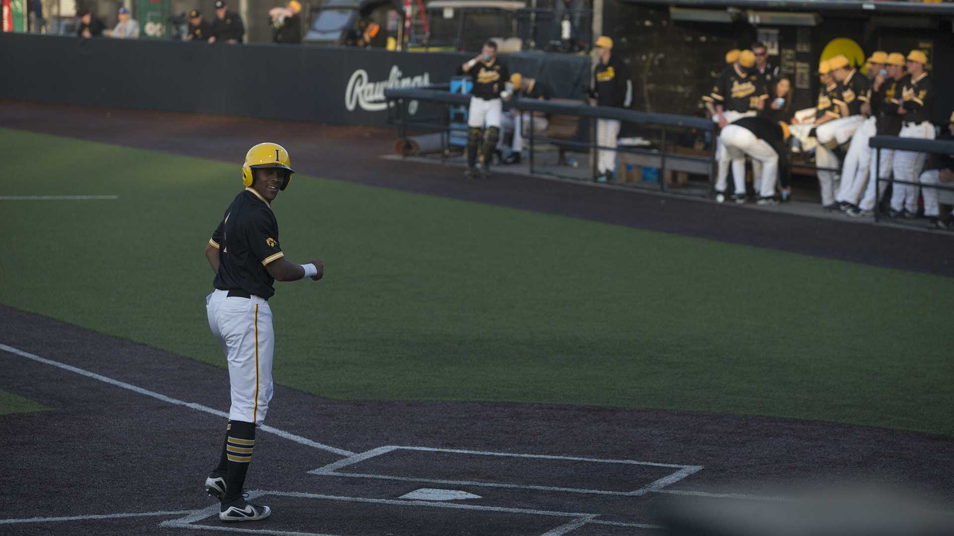 Hawkeye infielder, Sophomore Lorenzo Elion, leisurely runs home during the eight run streak of the third inning during Men's Baseball at Duane Banks Fields on Wednesday Apr. 25, 2018. The Hawkeyes defeated the Panthers 12-4. (Katie Goodale/The Daily Iowan)