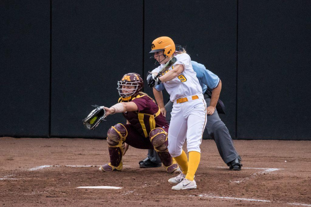University+of+Iowa+softball+player+Sarah+Kurtz+swings+and+misses+during+a+game+against+the+University+of+Minnesota+on+Thursday%2C+Apr.+12%2C+2018.+The+Gophers+defeated+the+Hawkeyes+8-0.+%28David+Harmantas%2FThe+Daily+Iowan%29
