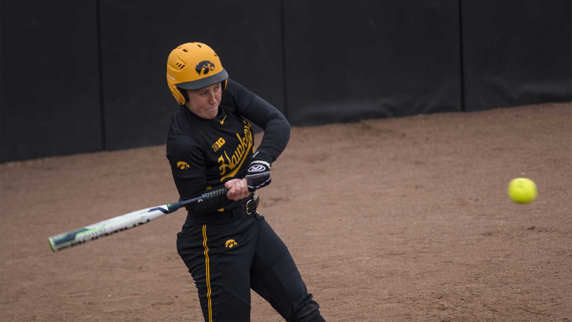 Iowa pitcher Mallory Kilian bats during the Iowa/Wisconsin softball game at Bob Pearl Field  on Sunday, April 8, 2018. The Hawkeyes defeated the Badgers in the third game of the series, 5-3. (Lily Smith/The Daily Iowan)