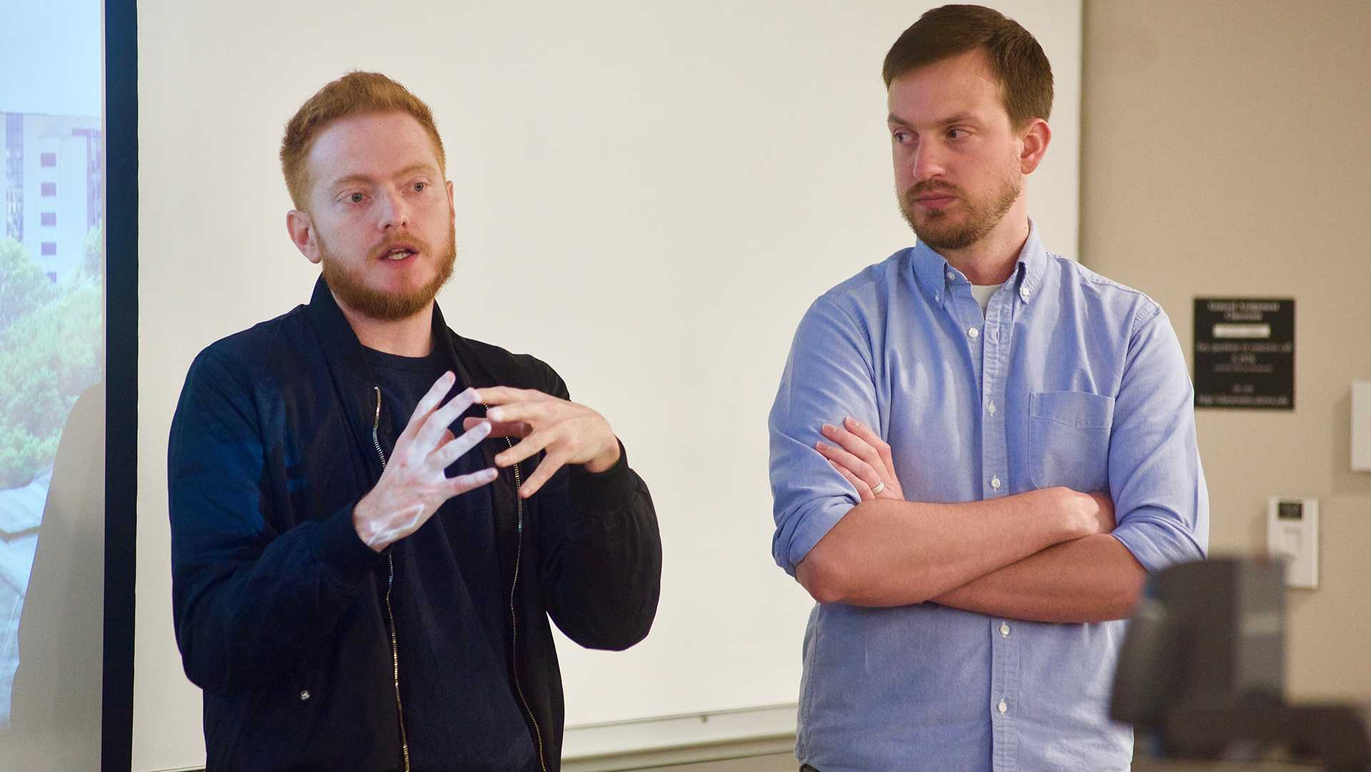 Scott Beck and Bryan Woods, UI alumni and co-writers of A Quiet Place, speak in the Pappajohn Business Building on Monday, April 9, 2018.