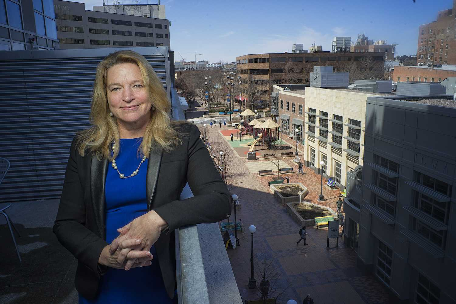 Former NASA Chief Scientist, Dr. Ellen Stofan, poses for a portrait while overlooking the Ped Mall on Tuesday, April 17, 2018. Dr. Stofan will be speaking on Tuesday night at the Englert Theater about space exploration and climate change. She has also been named as the director of the Air and Space Museum in Washington D.C. (James Year/ The Daily Iowan)