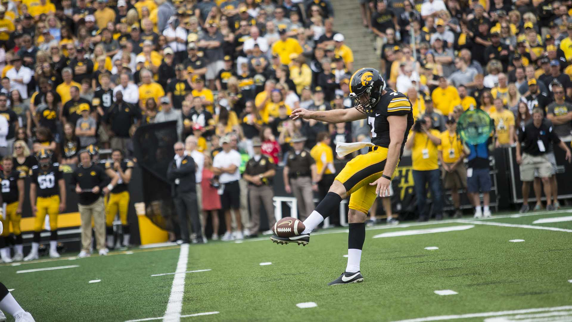 Iowa punter Colten Rastetter punts the ball away during the season opener against Wyoming on Saturday, Sep. 2, 2017. The Hawkeyes went on to defeat the Cowboys, 24-3. (Ben Smith/The Daily Iowan)