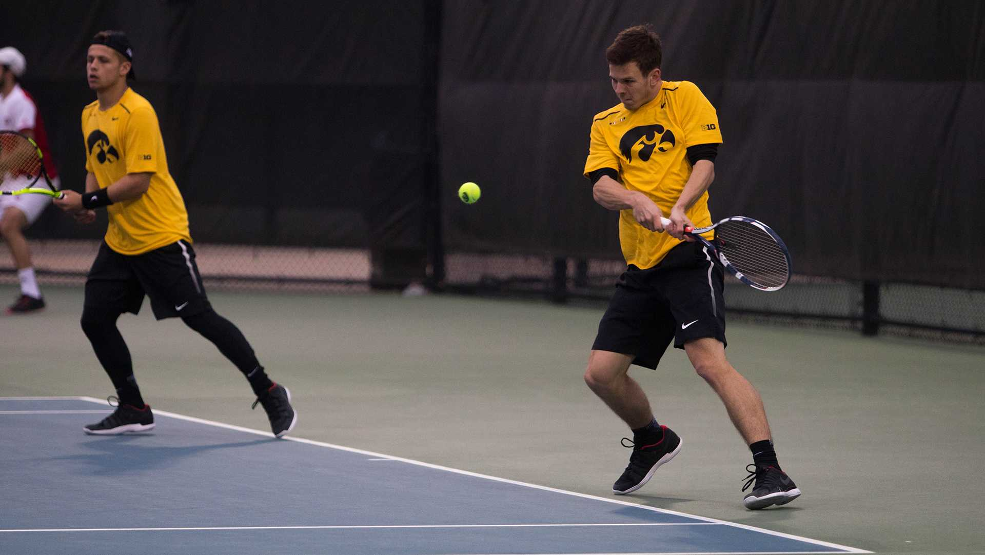 during a match against Indiana at the HTRC on April 13, 2018. The Hawkeyes were defeated 4-3. (Megan Nagorzanski/The Daily Iowan)