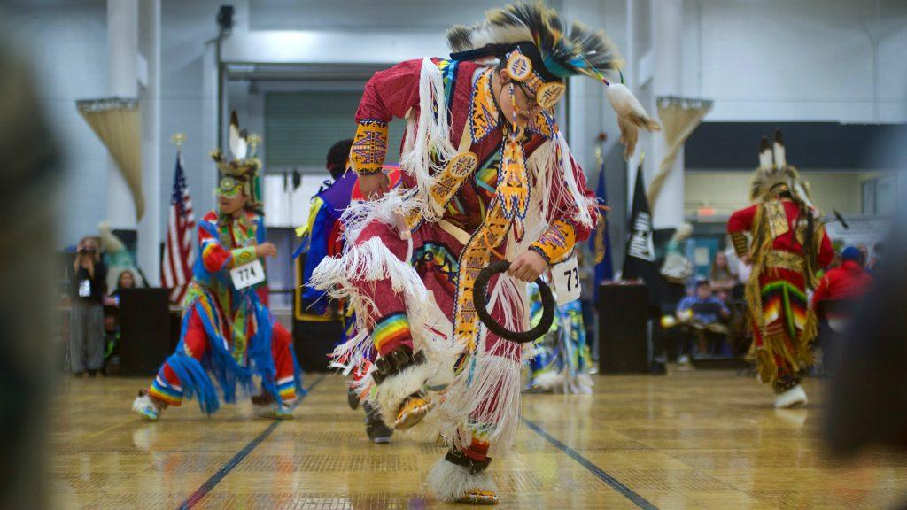 A+participant+dances+at+the+24th+Annual+University+of+Iowa+Powwow+and+Round+Dance+on+Saturday%2C+April+14%2C+2018.+The+Powwow%2C+hosted+by+the+Native+American+Student+Association%2C+celebrated+American-Indian+traditions+of+song+and+dance.+%28The+Daily+Iowan%2FOlivia+Sun%29