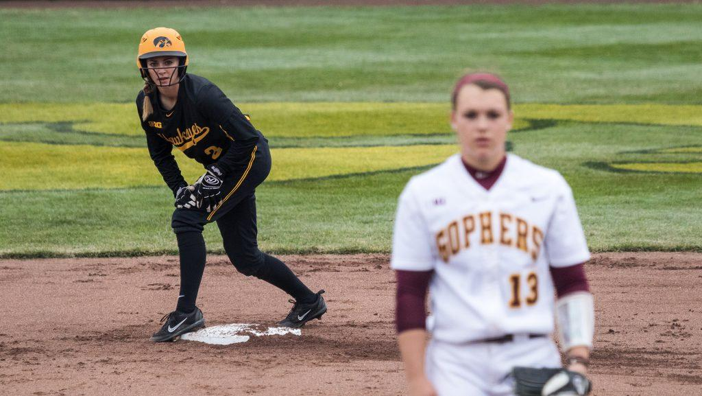 University+of+Iowa+softball+player++Allison+Doocy+stands+on+second+base+during+a+game+against+the+University+of+Minnesota+on+Friday%2C+Apr.+13%2C+2018.+The+Gophers+defeated+the+Hawkeyes+6-2.+%28David+Harmantas%2FThe+Daily+Iowan%29