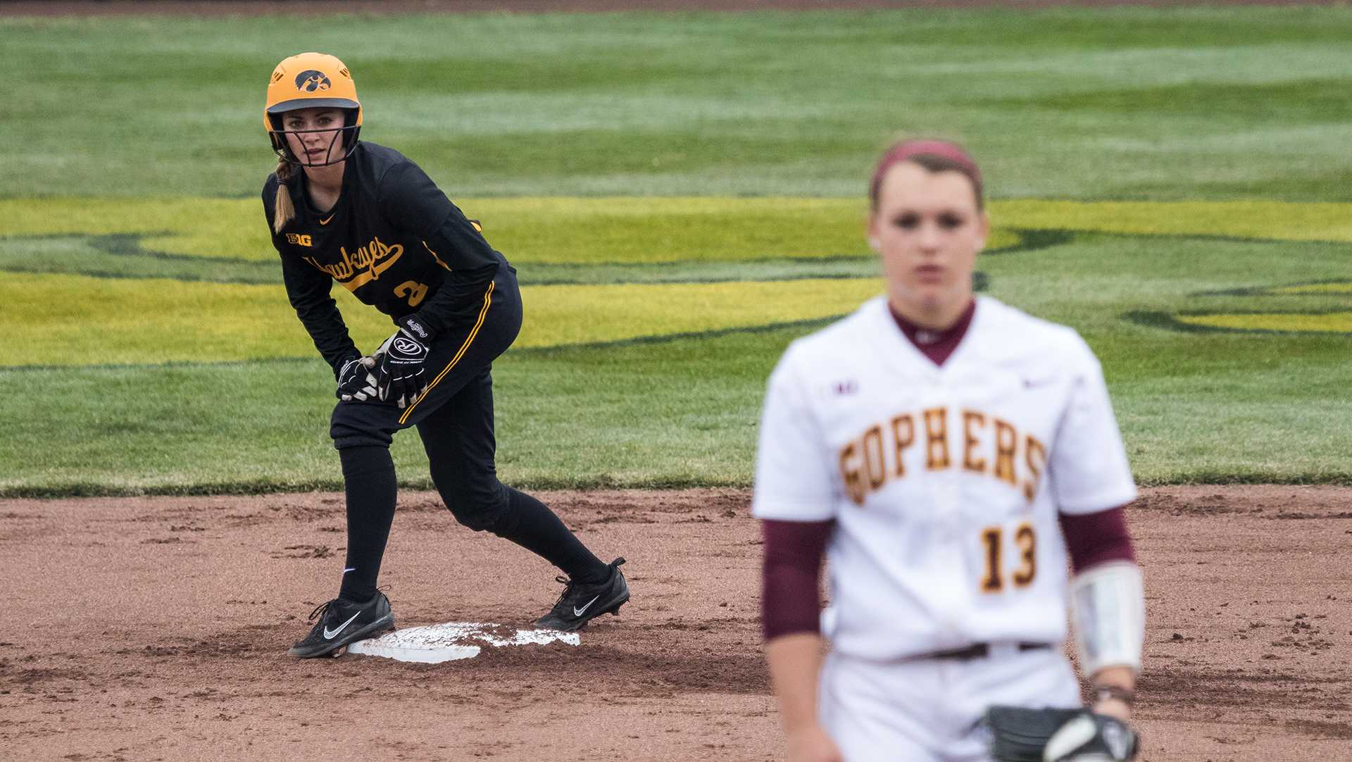 University of Iowa softball player  Allison Doocy stands on second base during a game against the University of Minnesota on Friday, Apr. 13, 2018. The Gophers defeated the Hawkeyes 6-2. (David Harmantas/The Daily Iowan)