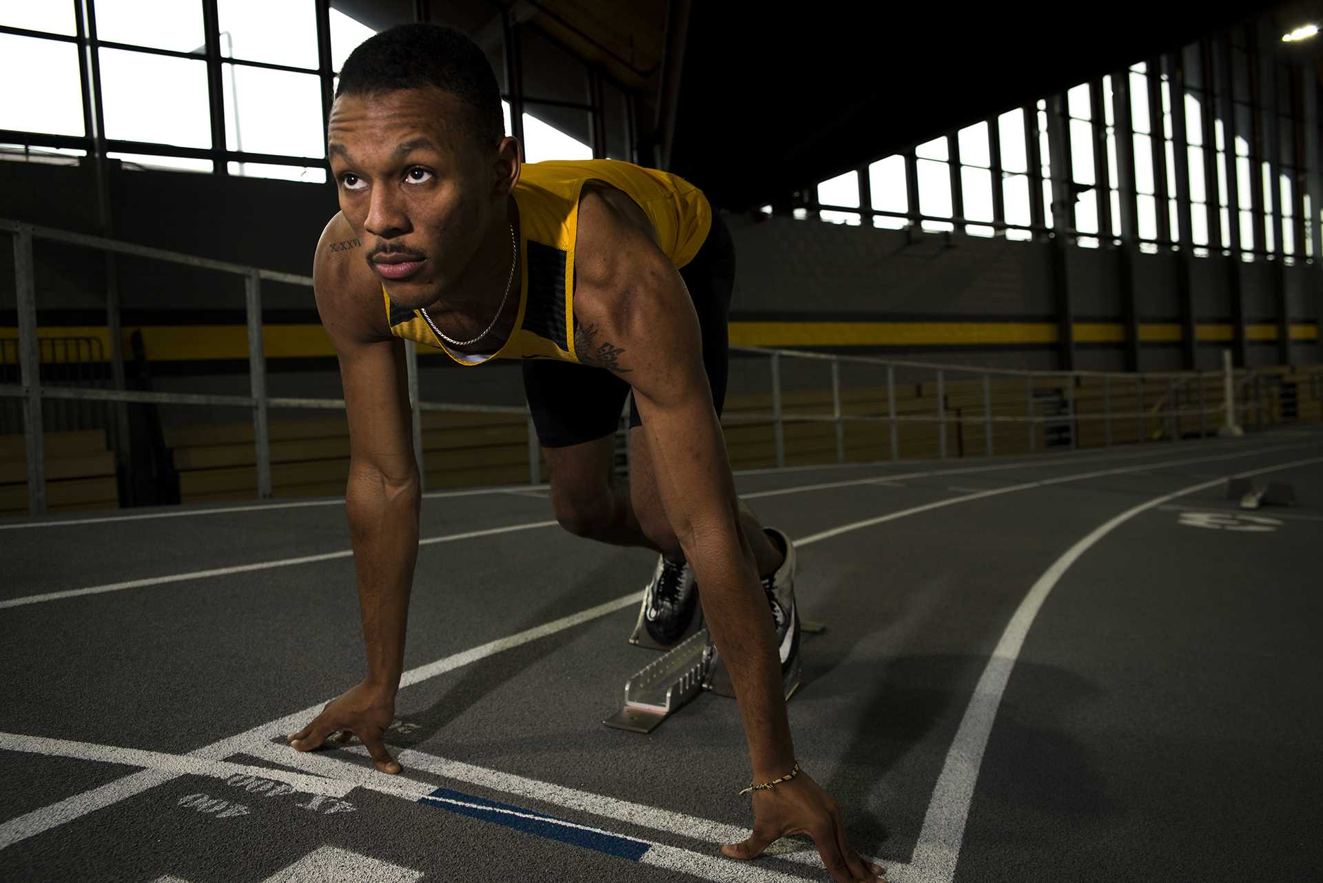 Iowa junior Mar'yea Harris poses for a portrait inside the University of Iowa Recreation Building on Wednesday, Jan. 10, 2018. Harris is the 2017 indoor season leader for the 400 meter dash with a time of 45.75. The Hawkeyes will host their first intersquad meet, the Hawkeye Invitational on Jan. 13. (Ben Allan Smith/The Daily Iowan)