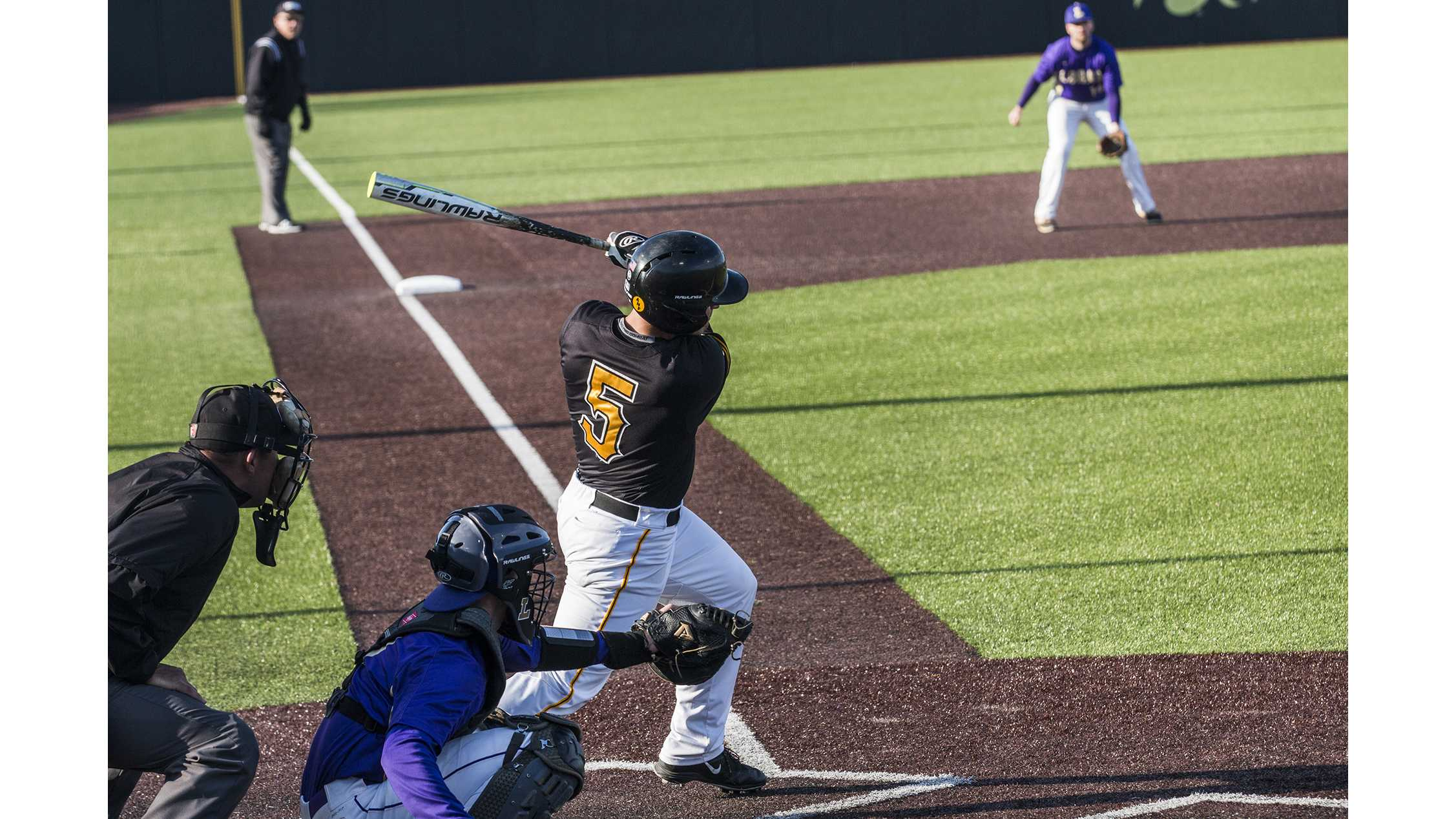 Iowa catcher Tyler Cropley swings at the pitch during men's baseball Iowa vs. Loras at Duane Banks Field on March 21, 2018. The Hawkeyes defeated the Duhawks 6-4. (Katina Zentz/The Daily Iowan) (Katina Zentz/Daily Iowan)