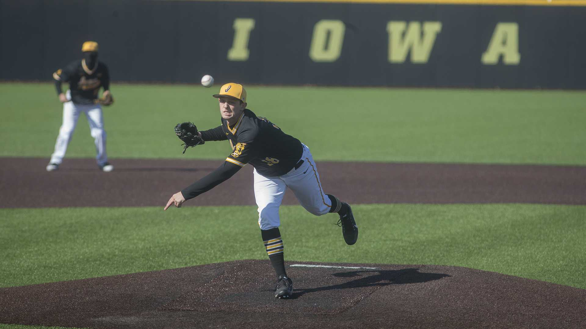 Freshman Trenton Wallace pitches during men's baseball Iowa vs Grand View on Apr 4, 2018 at Duane Banks Field. The Hawkeyes defeated the Vikings 4-2. (Katie Goodale/The Daily Iowan)