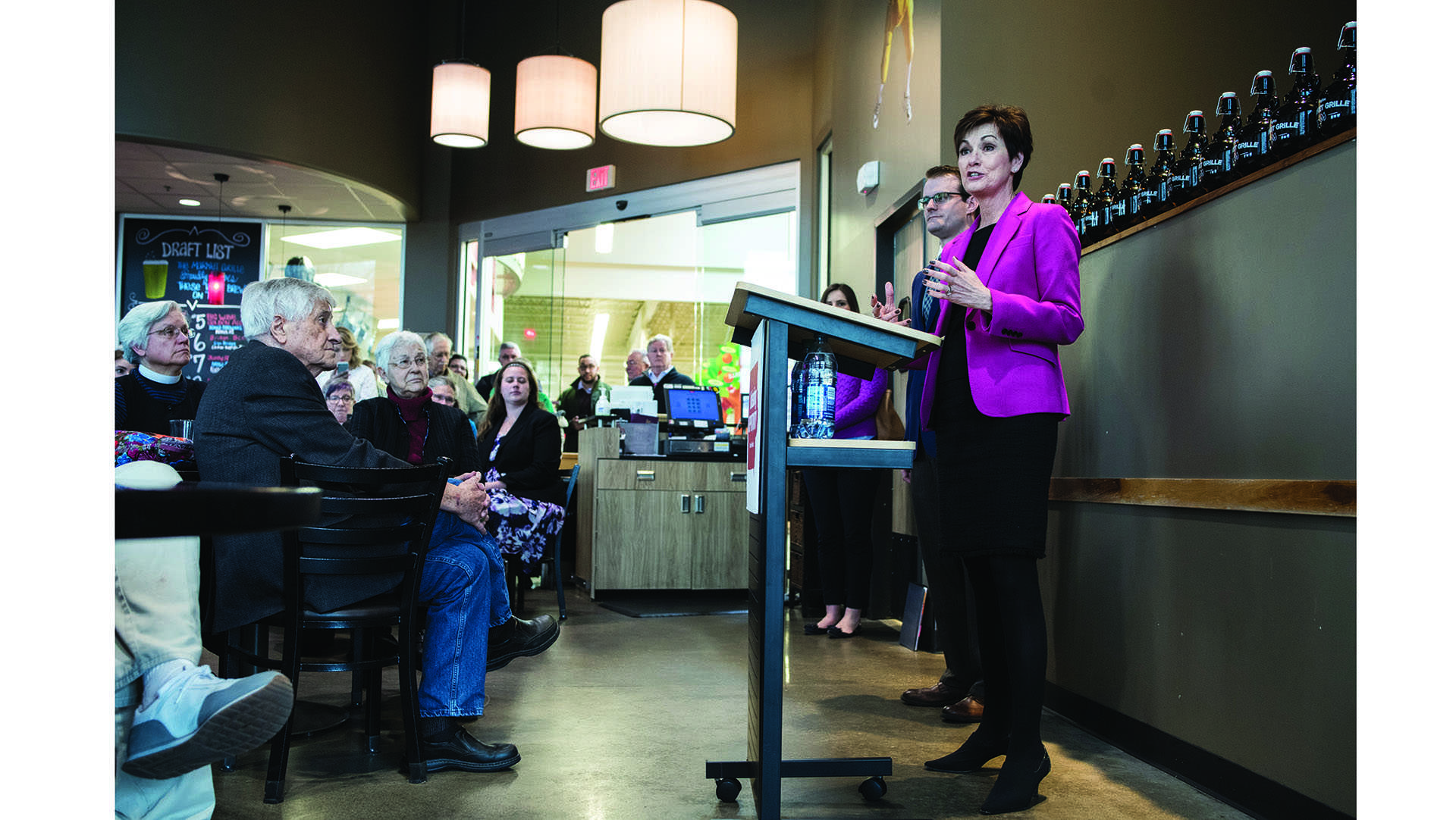 Kim Reynolds talks at Hy-Vee in Coralville during her 99 Counties tour on Thursday, April 5, 2018. (Ben Allan Smith/The Daily Iowan)