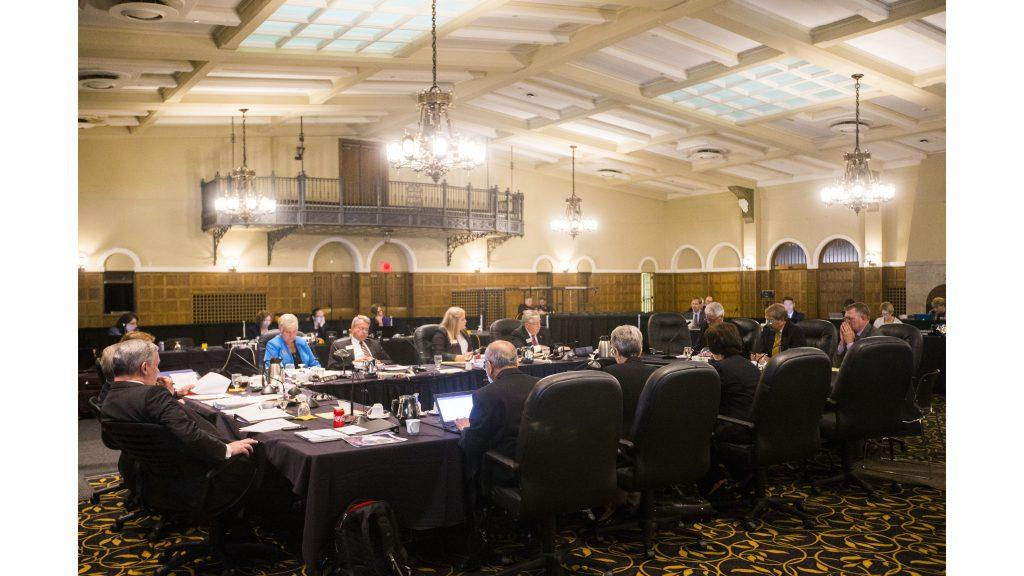Regents+listen+to+a+presentation+during+a+state+Board+of+Regents+meeting+in+the+IMU+main+lounge+on+Thursday%2C+Sept.+7%2C+2017.+%28File+Photo%2FThe+Daily+Iowan%29