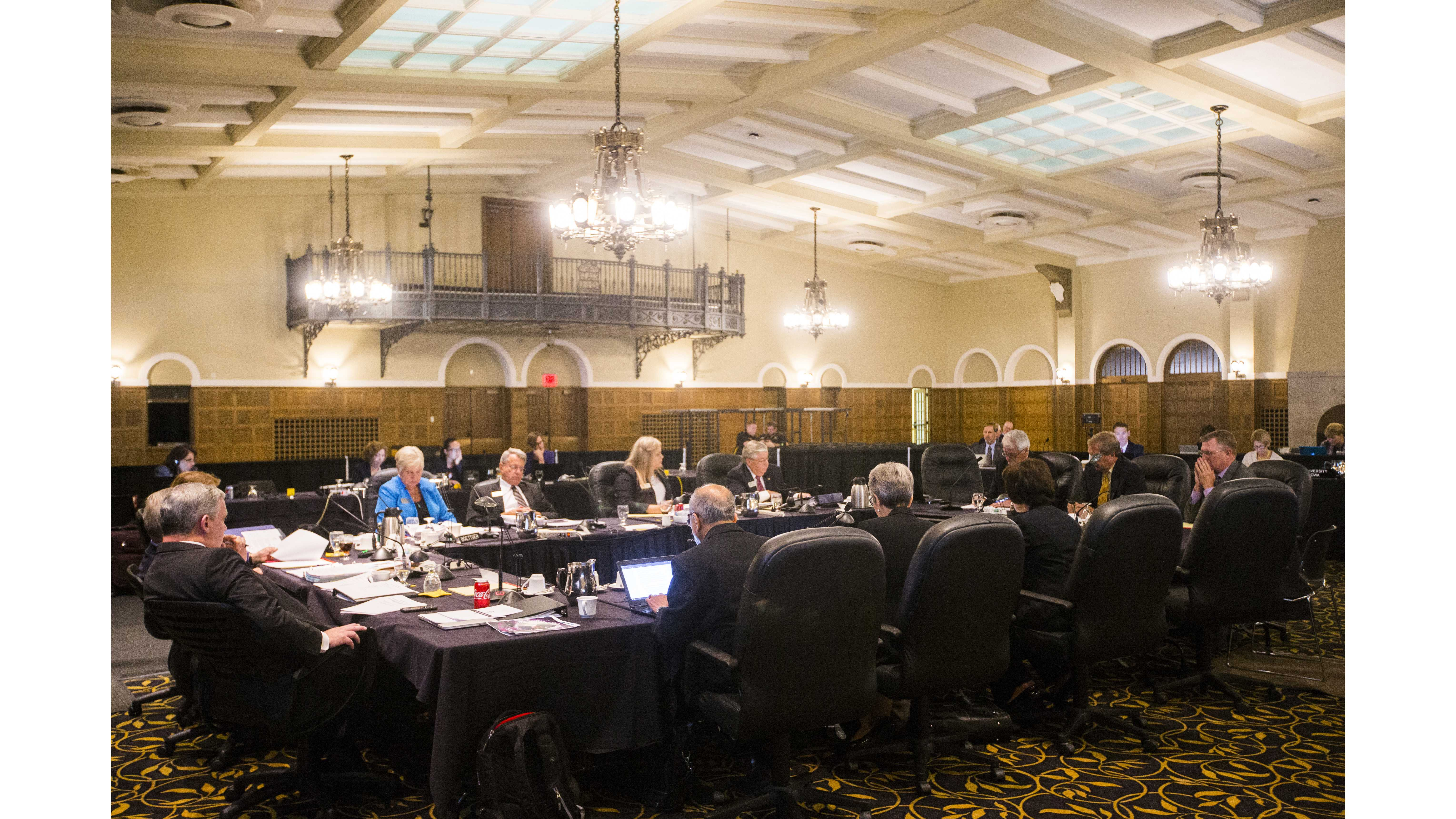 Regents listen to a presentation during a state Board of Regents meeting in the IMU main lounge on Thursday, Sept. 7, 2017. (File Photo/The Daily Iowan)