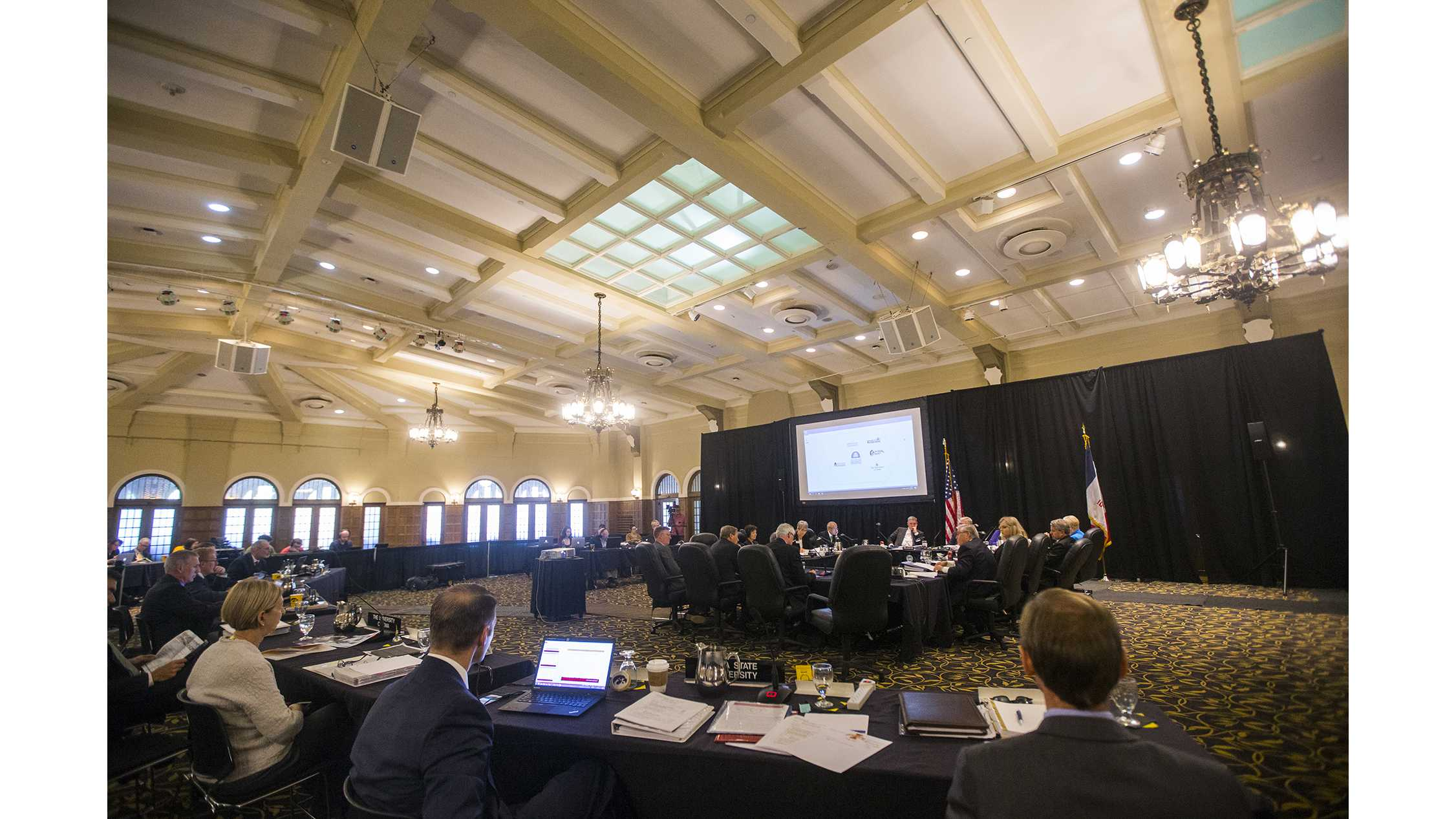 FILE - Regents listen to a presentation during a state Board of Regents meeting in the IMU main lounge on Thursday, Sept. 7, 2017. The regents provided a summary of the state's funding situation and discussed future steps they would take to make a predictable tuition plan. (Joseph Cress/The Daily Iowan)