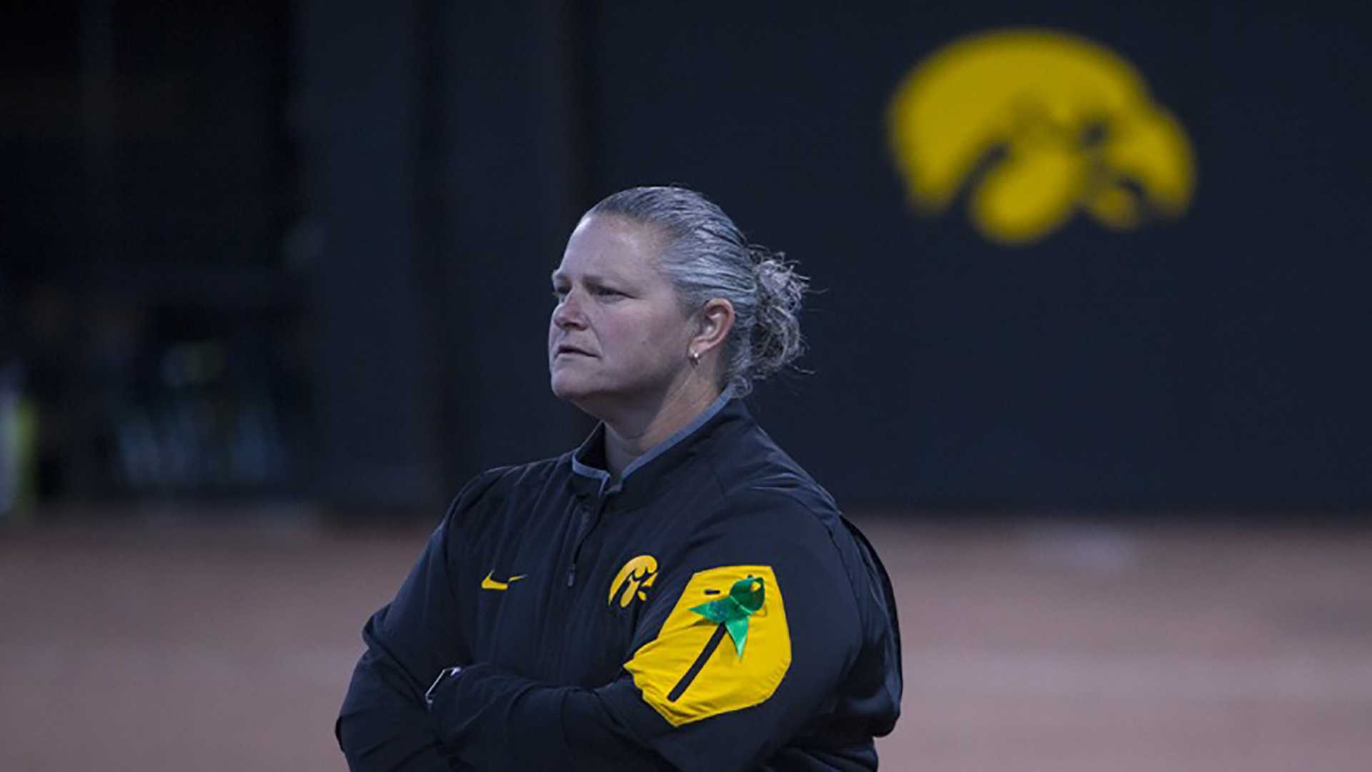 Iowa head coach Marla Looper looks to the outfield during a softball game against Valparaiso at Bob Pearl Field in Iowa City on Friday, March 17, 2017. The Hawkeyes defeated the Crusaders, 3-0. (The Daily Iowan/Joseph Cress)