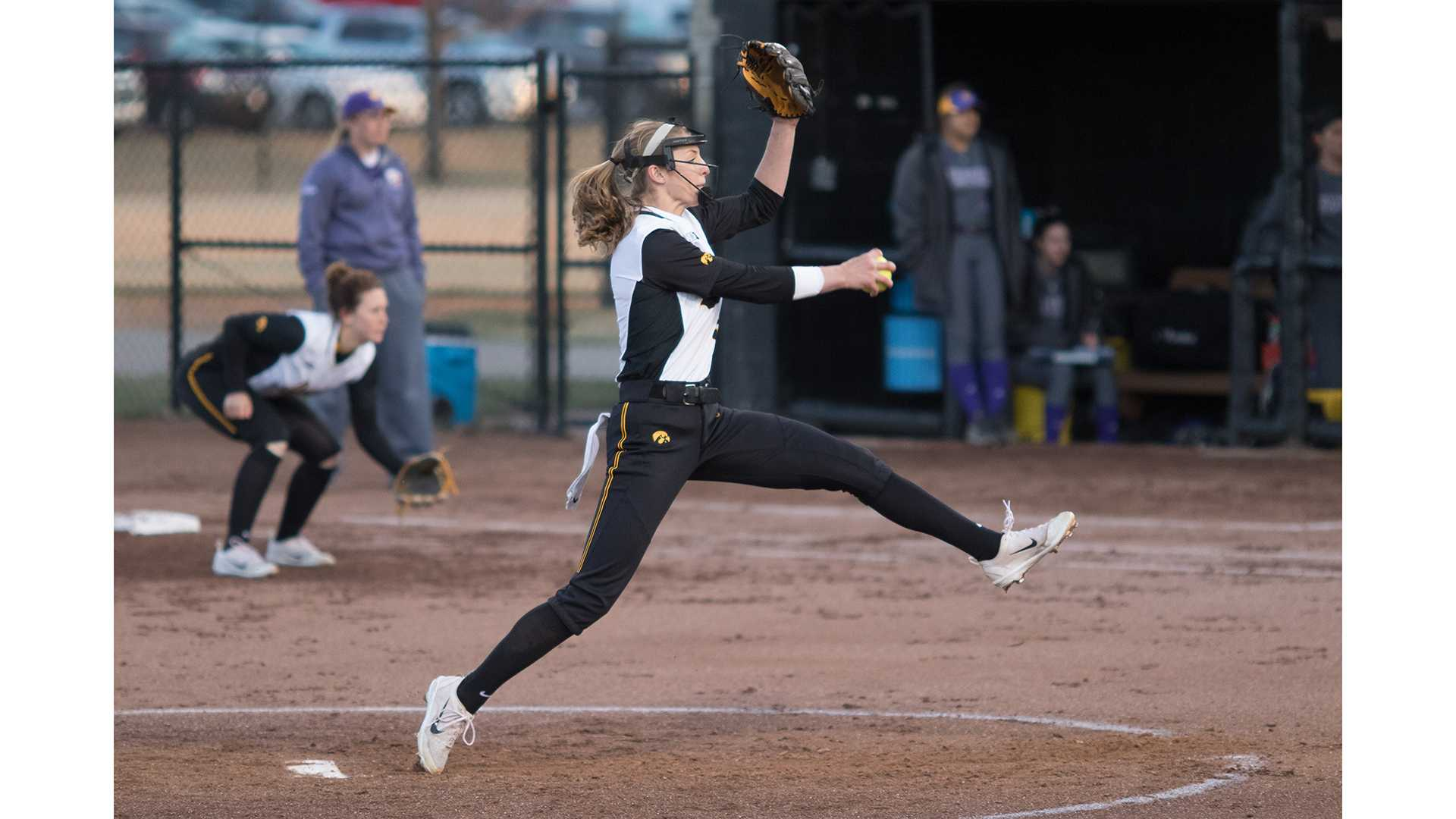 University of Iowa softball player Allison Doocy winds up to pitch during a game against Western Illinois University on Tuesday, Apr. 17, 2018. The Fighting Leathernecks defeated the Hawkeyes 2-1. (David Harmantas/The Daily Iowan)