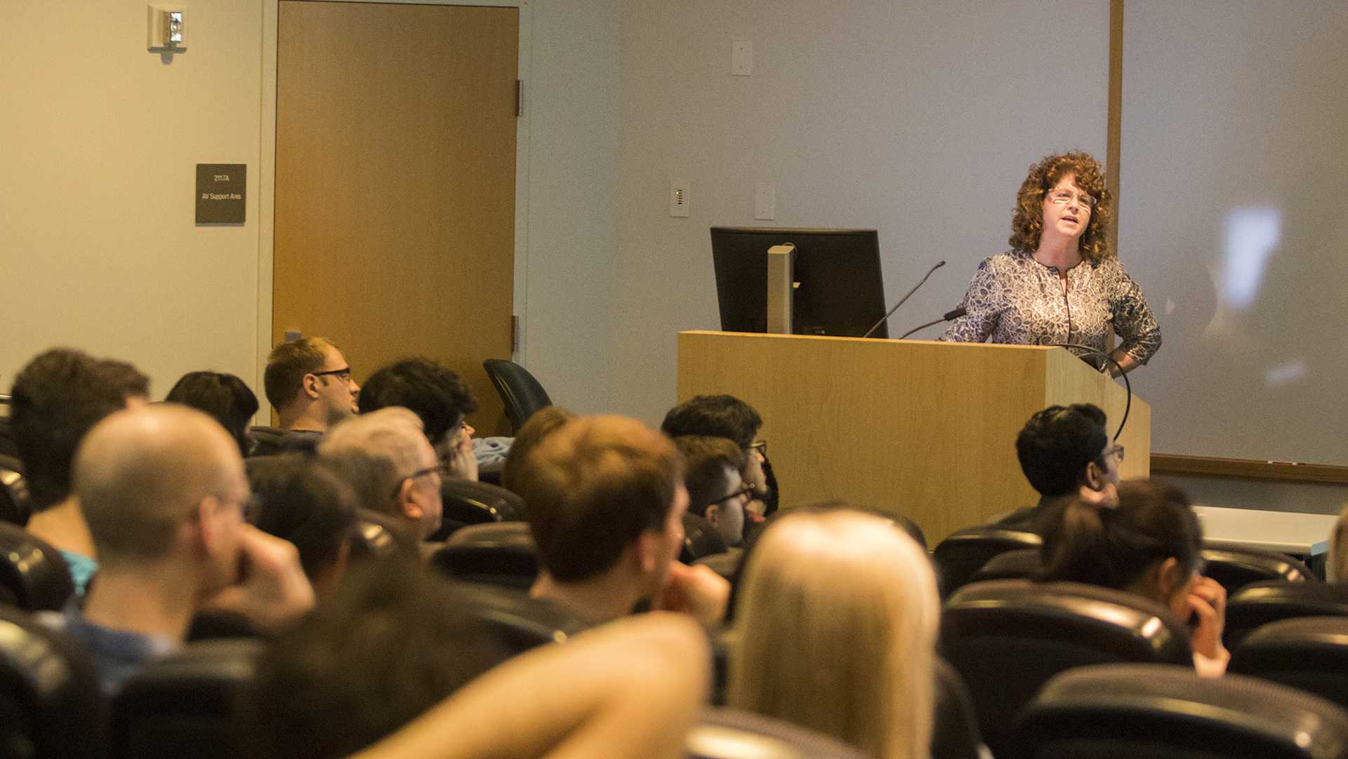 UI psychiatry professor Peggy Nopoulos speaks in MERF on Monday, April 16, 2018. Nopoulos' TED Talk is titled Ability and Liability: Human Brain Evolution and Degenerative Brain Disease. (Lily Smith/The Daily Iowan)
