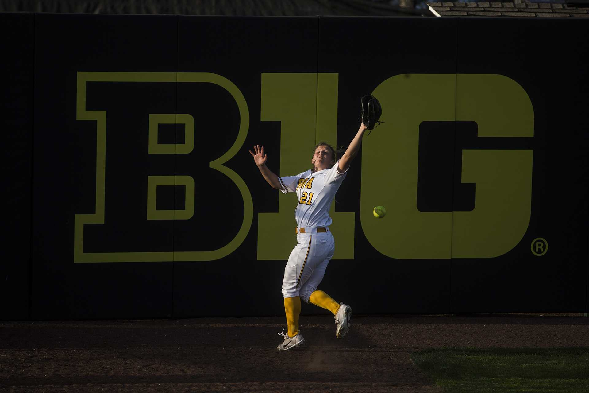 Iowa outfielder Havyn Monteer misses a fly ball in right field during the NCAA women's softball game between Iowa and Purdue at Bob Pearl Softball Field on Friday, May 4, 2018. The Hawkeyes lost to the Boilermakers 1-3. (Ben Allan Smith/The Daily Iowan)