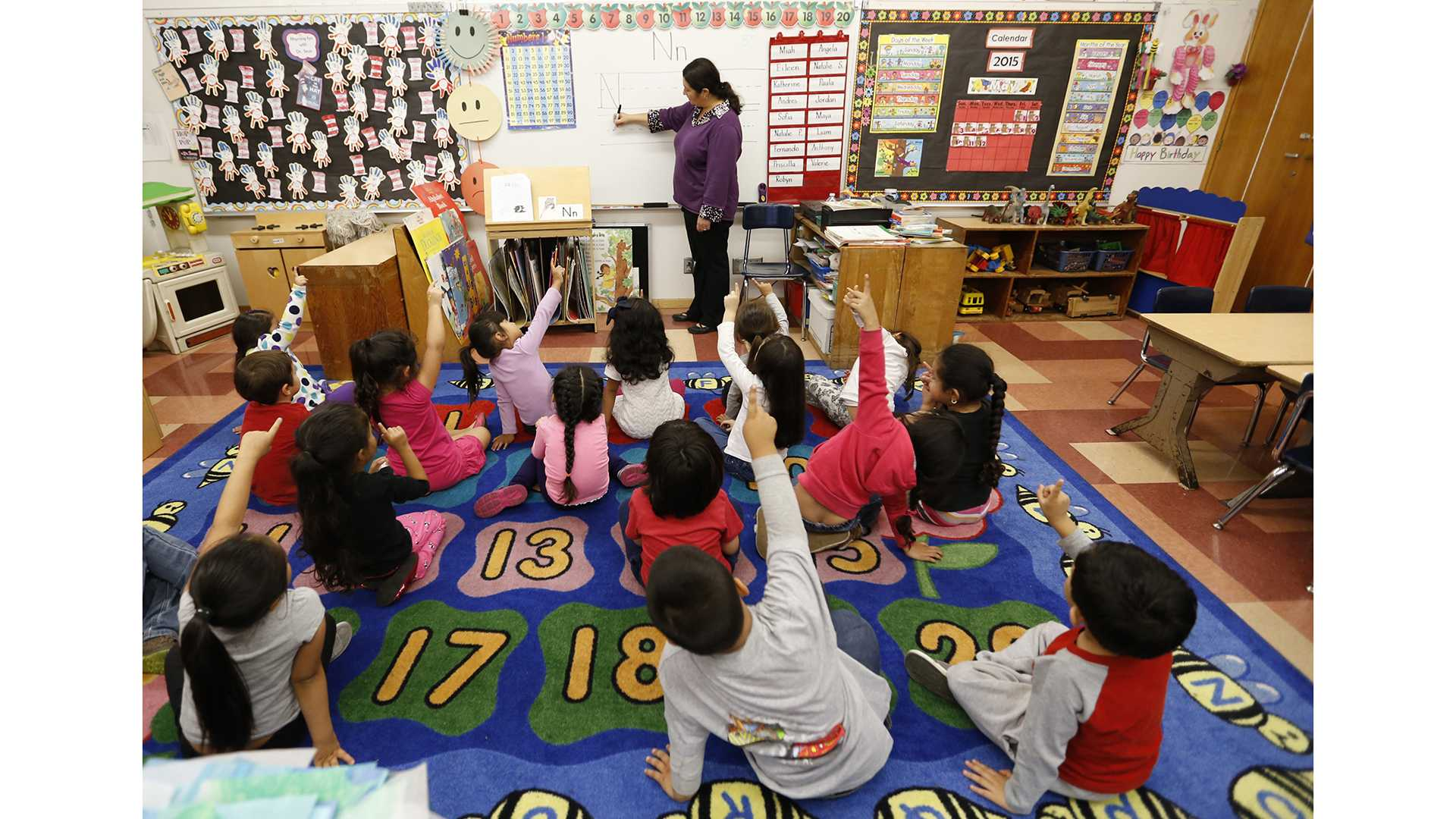 National data show careful investments in high-quality preschools and small class size in elementary schools can pay off. Above, pre-K students at Dorris Place Elementary School in Los Angeles on May 12, 2015. (Al Seib/Los Angeles Times/TNS)