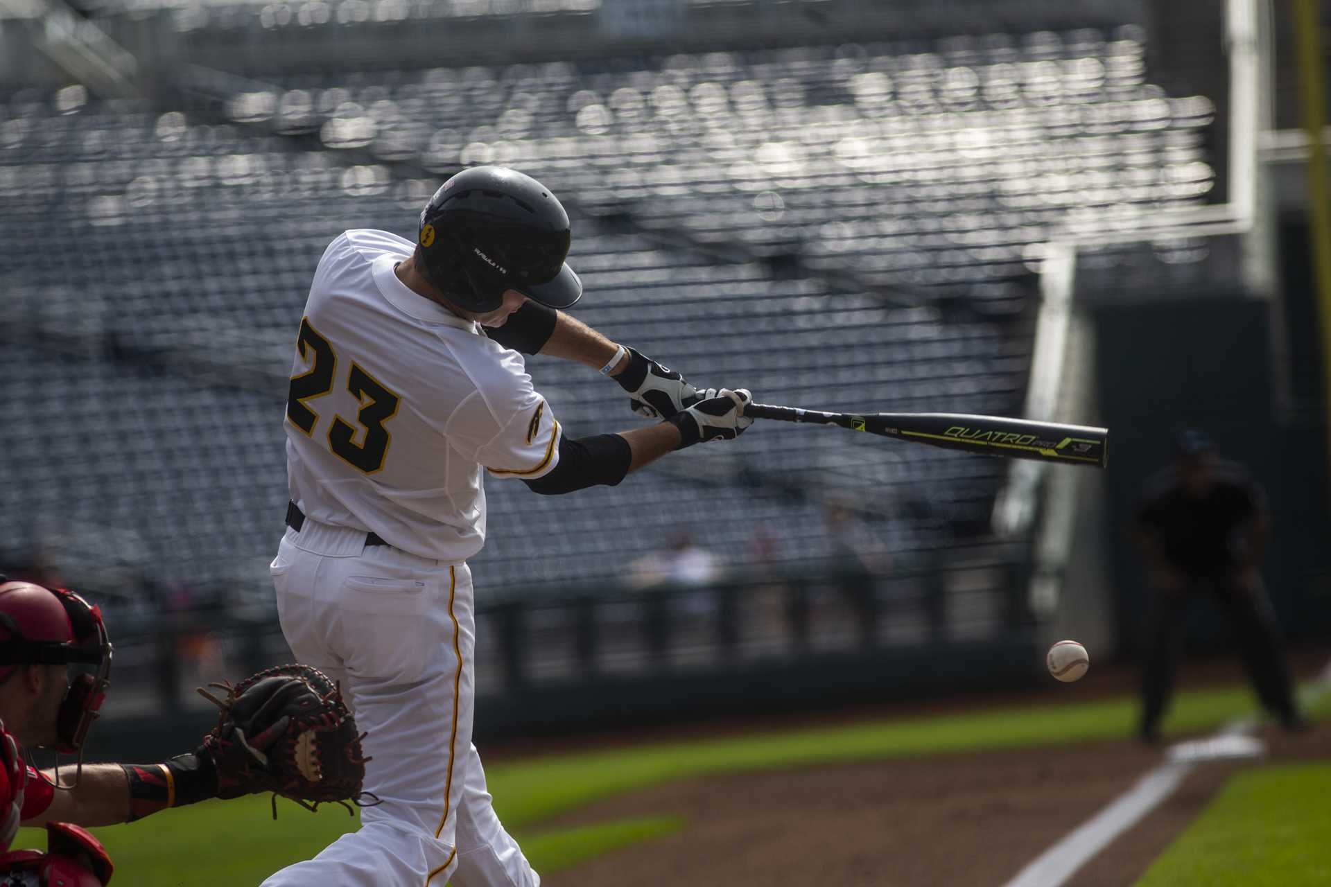 Iowa's Kyle Crowl makes contact during Iowa's Big Ten tournament game against Ohio State on Thursday, May 24, 2018. The Buckeyes defeated the Hawkeyes 2-0. (Nick Rohlman/The Daily Iowan)