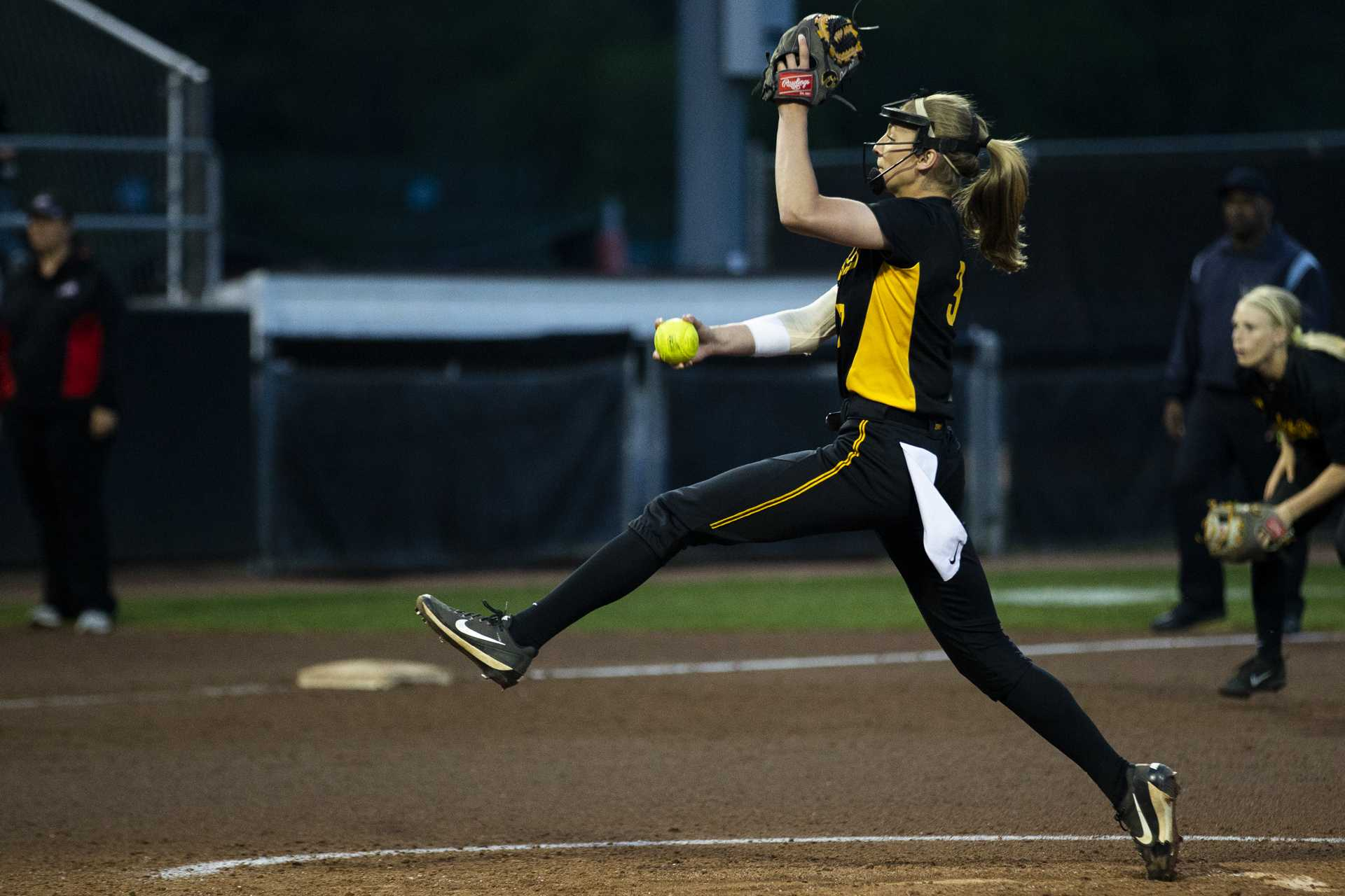 Iowa's Allison Doocy delivers a pitch during IowaÕs Big Ten tournament game against Ohio State at the Goodman Softball complex in Madison, WI. The Hawkeyes defeated the Buckeyes 5-1. (Nick Rohlman/The Daily Iowan)