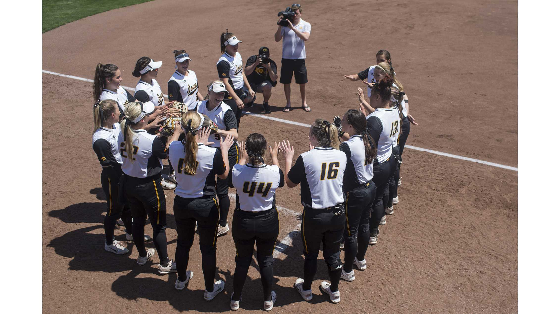 Iowa's Sarah Kurtz is introduced before a softball game between Iowa and Purdue on Sunday, May 6, 2018. The Boilermakers spoiled the Hawkeyes' senior day, 6-0. (Shivansh Ahuja/The Daily Iowan)