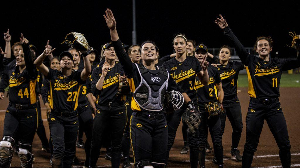 The+Hawkeyes+celebrate+their+victory+after+Iowa%E2%80%99s+Big+Ten+tournament+game+against+Ohio+State+at+the+Goodman+Softball+complex+in+Madison%2C+WI.+The+Hawkeyes+defeated+the+Buckeyes+5-1.+%28Nick+Rohlman%2FThe+Daily+Iowan%29