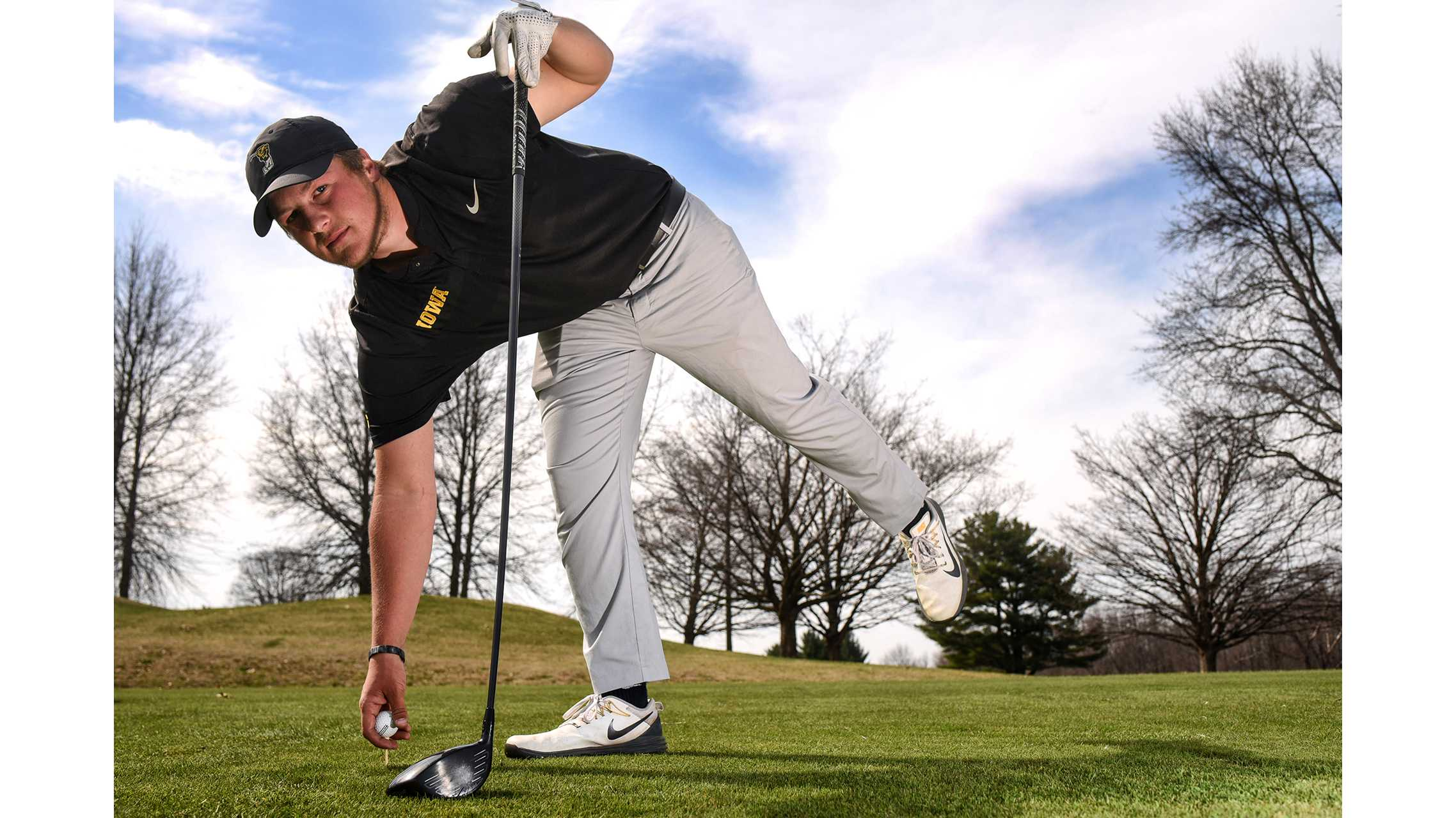 Iowa sophomore Alex Schaake poses for a portrait at Hoak Family Golf Complex on Tuesday, April 24, 2018. (Ben Allan Smith/The Daily Iowan)