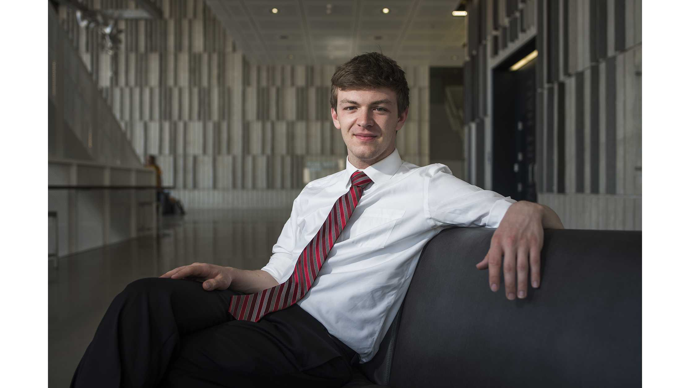 UI senior Jacob Simpson poses for a portrait in the Voxman Music Building on Monday, May 7, 2018. Simpson is the former president of UISG and will be leaving his post following graduation. (Ben Allan Smith/The Daily Iowan)