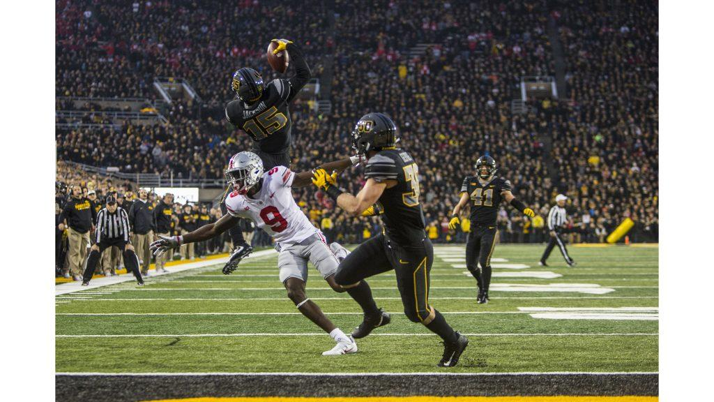 Iowa+Cornerback+Josh+Jackson+makes+a+jumping+one+handed+interception+during+Iowa%27s+game+against+Ohio+State+at+Kinnick+Stadium+on+Saturday%2C+Nov.+4%2C+2017.+Jackson+made+three+interceptions+on+the+day+as+the+Hawkeyes+defeated+the+Buckeyes+55+to+24.+%28Nick+Rohlman%2FThe+Daily+Iowan%29
